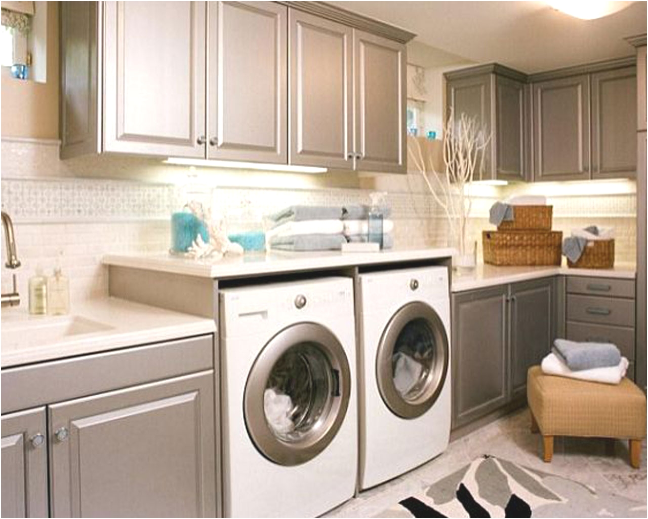 cabinets for washer and dryer in kitchen