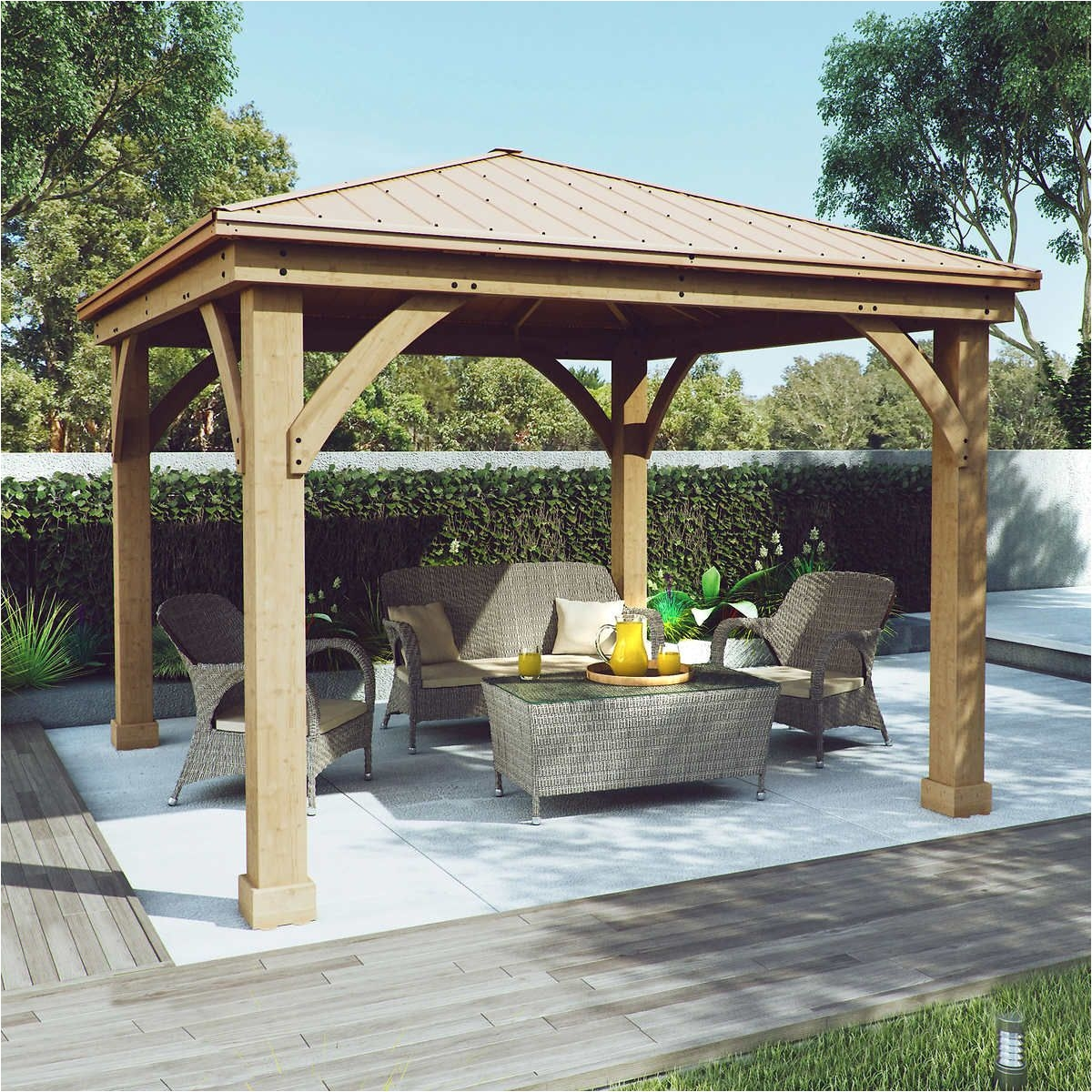 cedar wood 12 x 12 gazebo with aluminum roof by yardistry