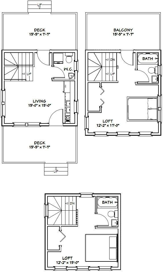 16×20 2 Story House Plans 16×16 Tiny House 16x16h22c 671 Sq Ft Excellent