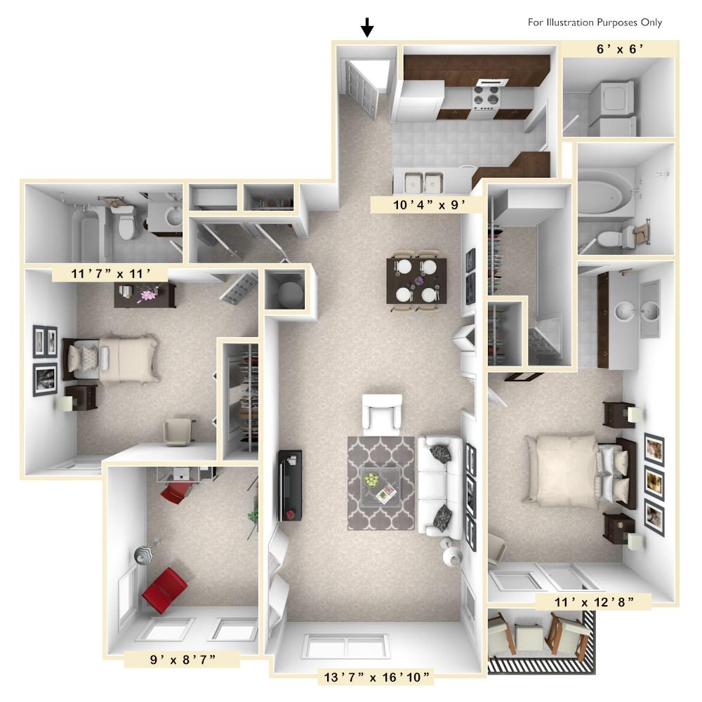 2 Bedroom 2 Bath Apartments Richmond Va Enclave Apartments In Midlothian Va Edward Rose sons