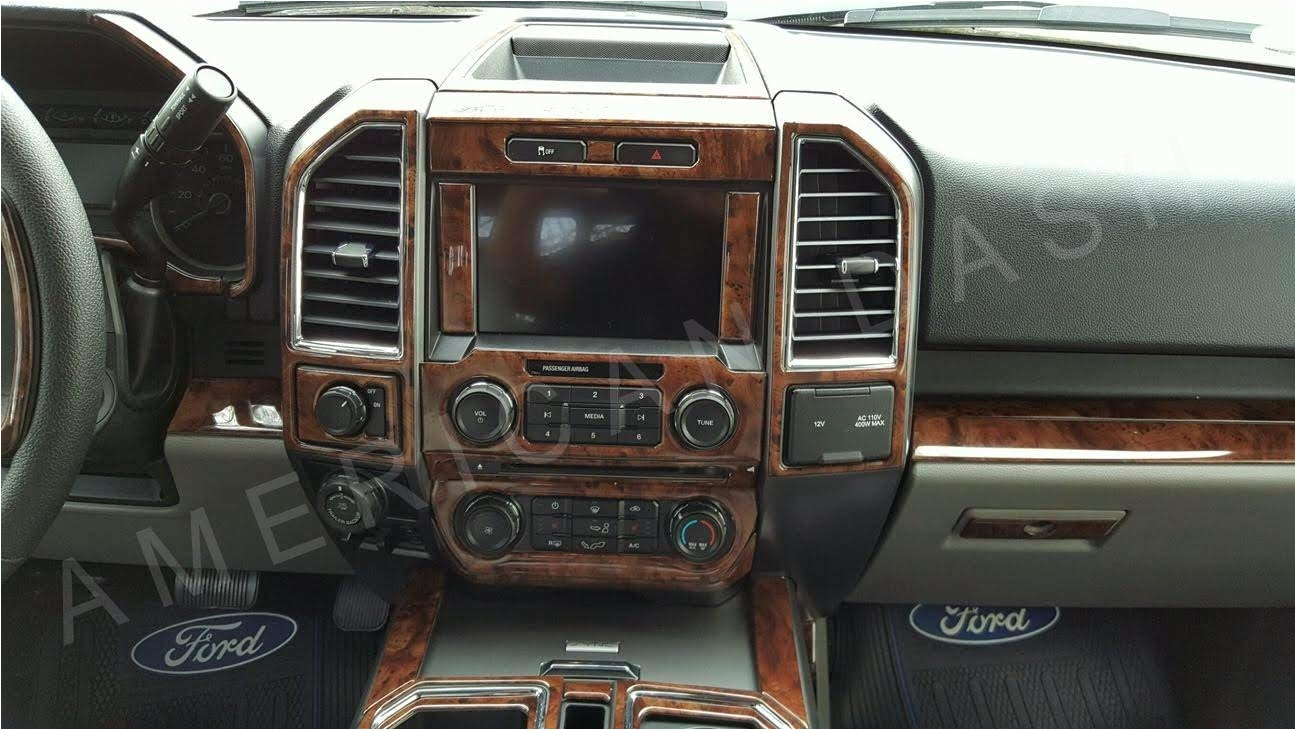amazon com ford f 150 f150 f 150 crew cab interior burl wood dash trim kit set 2015 2016 2017 2018 automotive