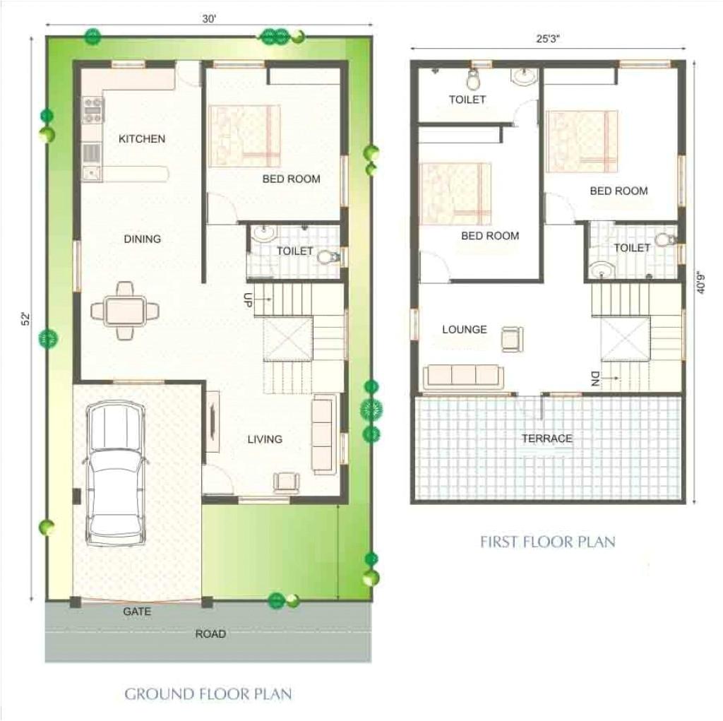40 X 20 Duplex House Plan