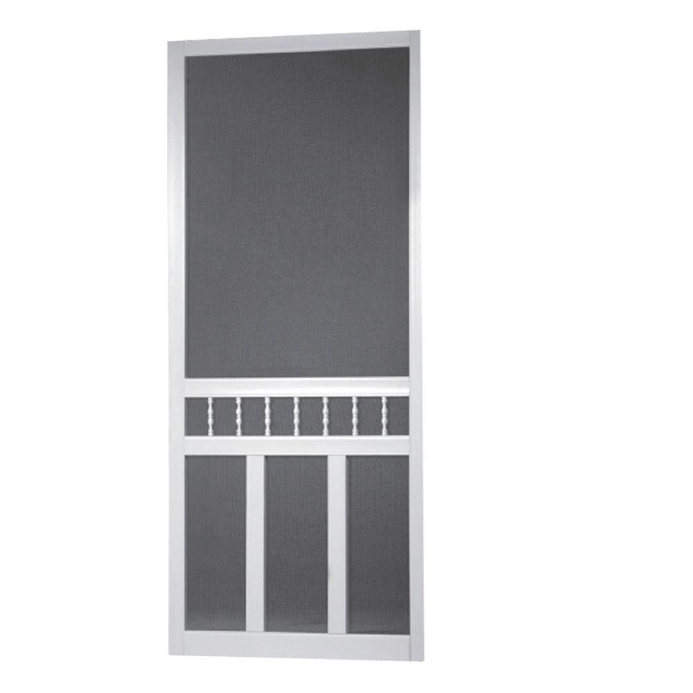 screen tight 36 in x 80 in waccamaw solid vinyl white screen door with