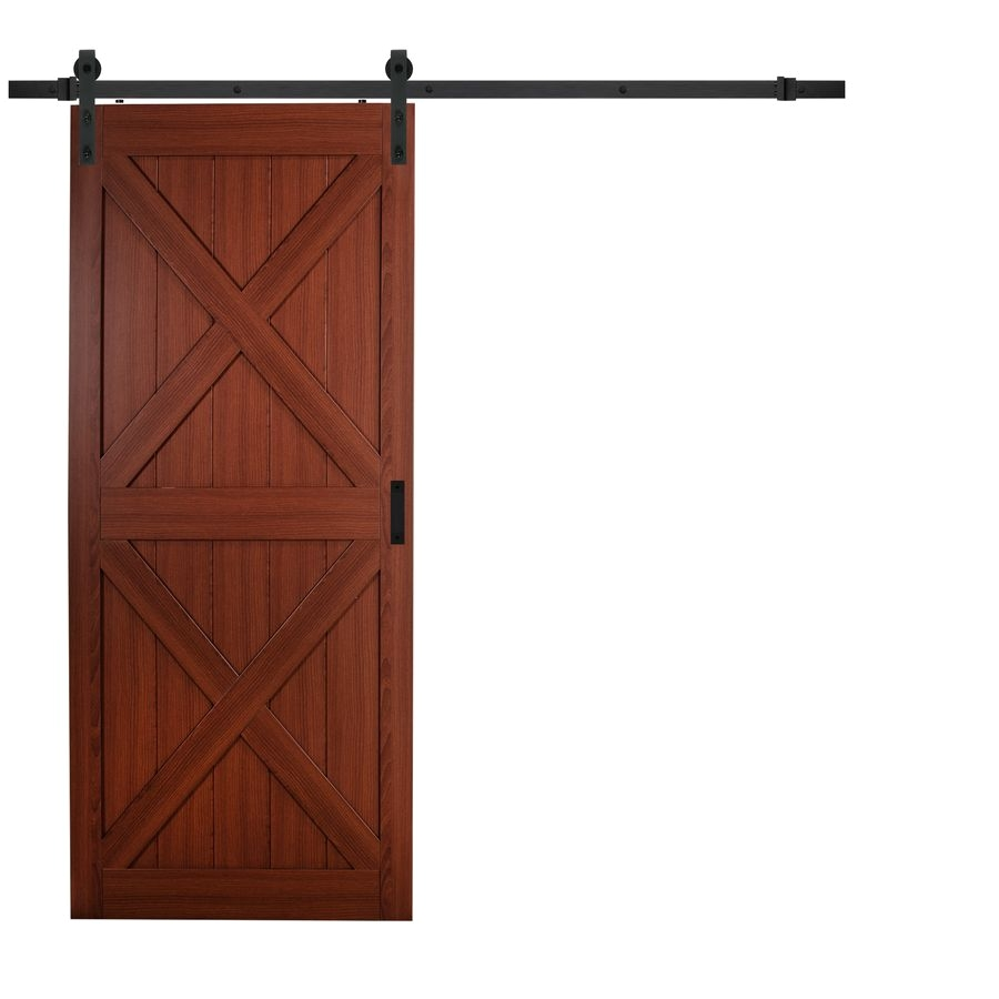 cherry solid core crossbuck barn interior door common 36 in x 84 in actual 36 in x 84 in