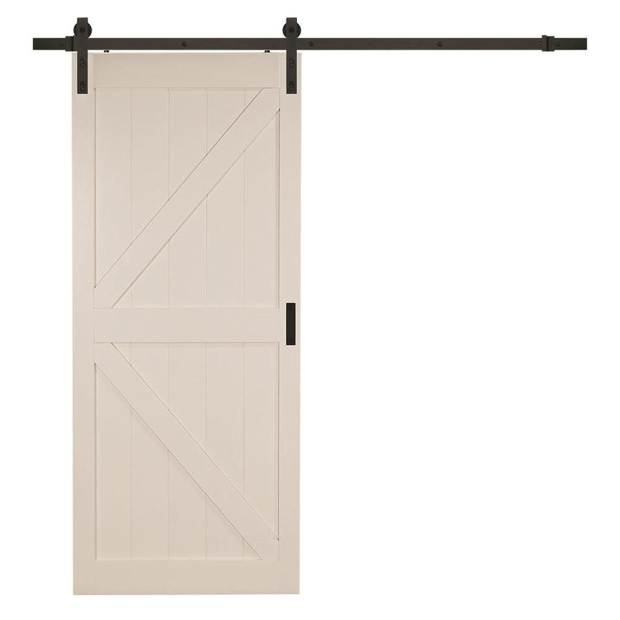 shop reliabilt off white solid core soft close mdf barn interior door with hardware common x actual
