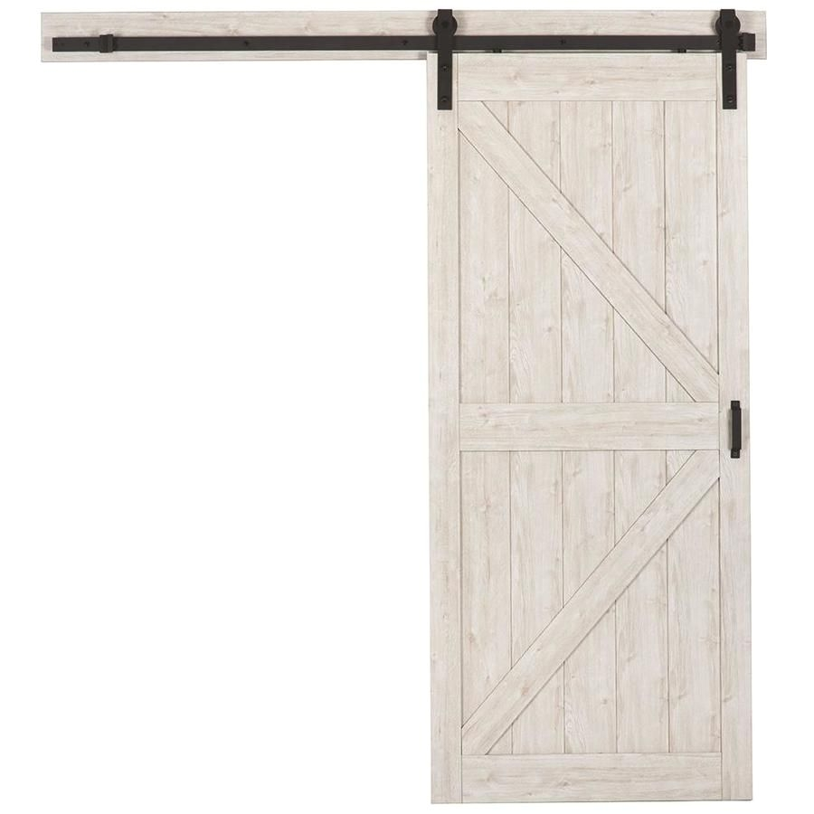 reliabilt sandstone gray solid core mdf barn interior door with hardware common 36 in x 84 in actual 36 in x 84 in