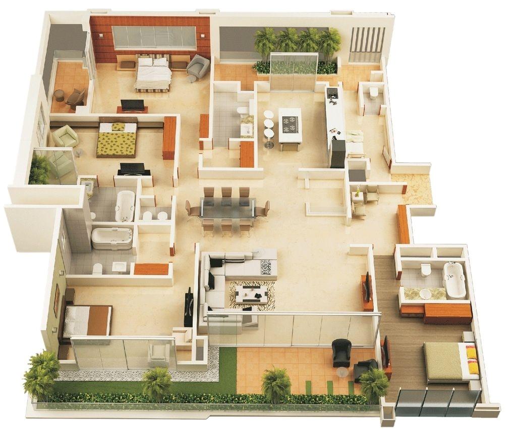 50 four 4 bedrooms apartment house plans architecture design