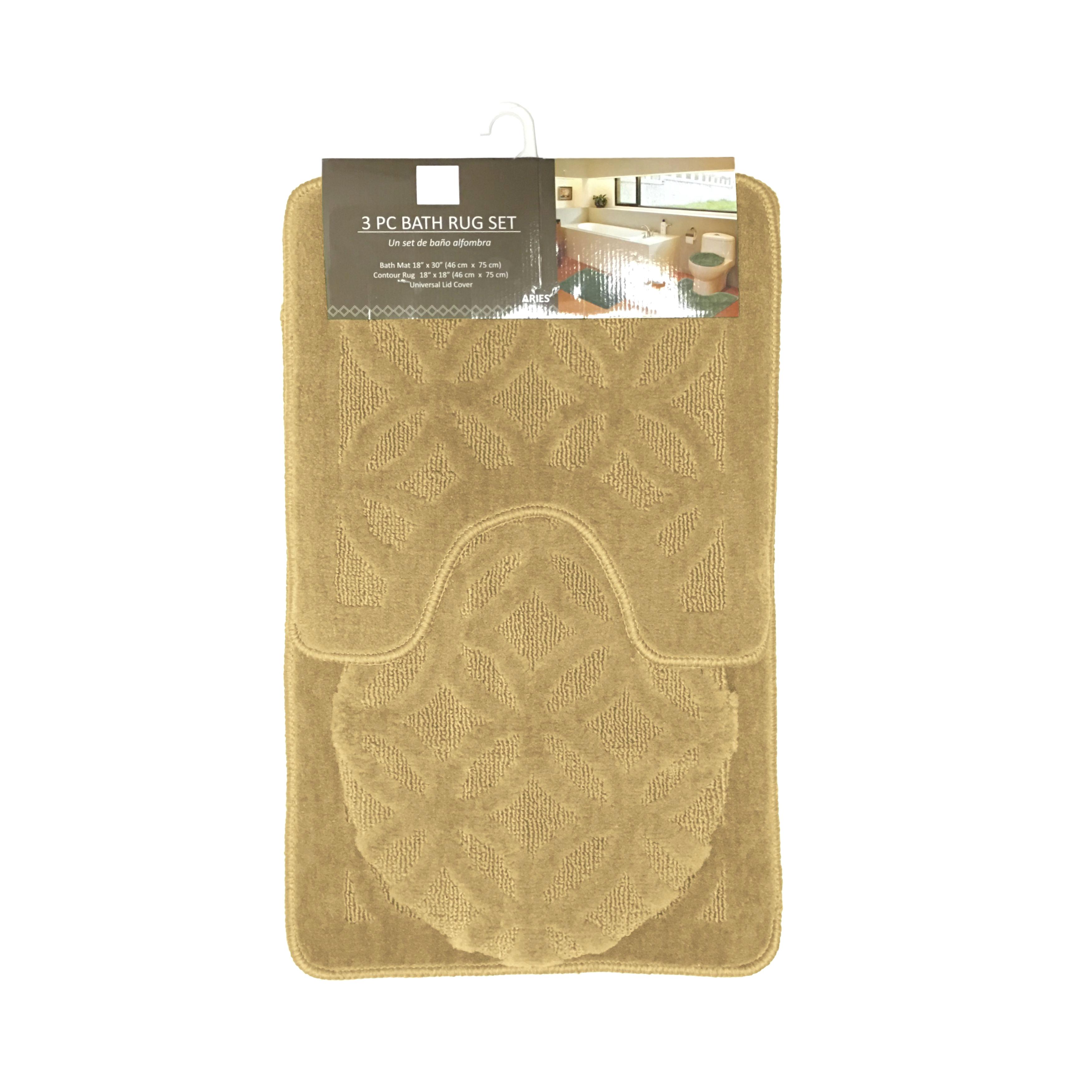 aries geometric circles design 3 piece bathroom rug set bath rug contour rug
