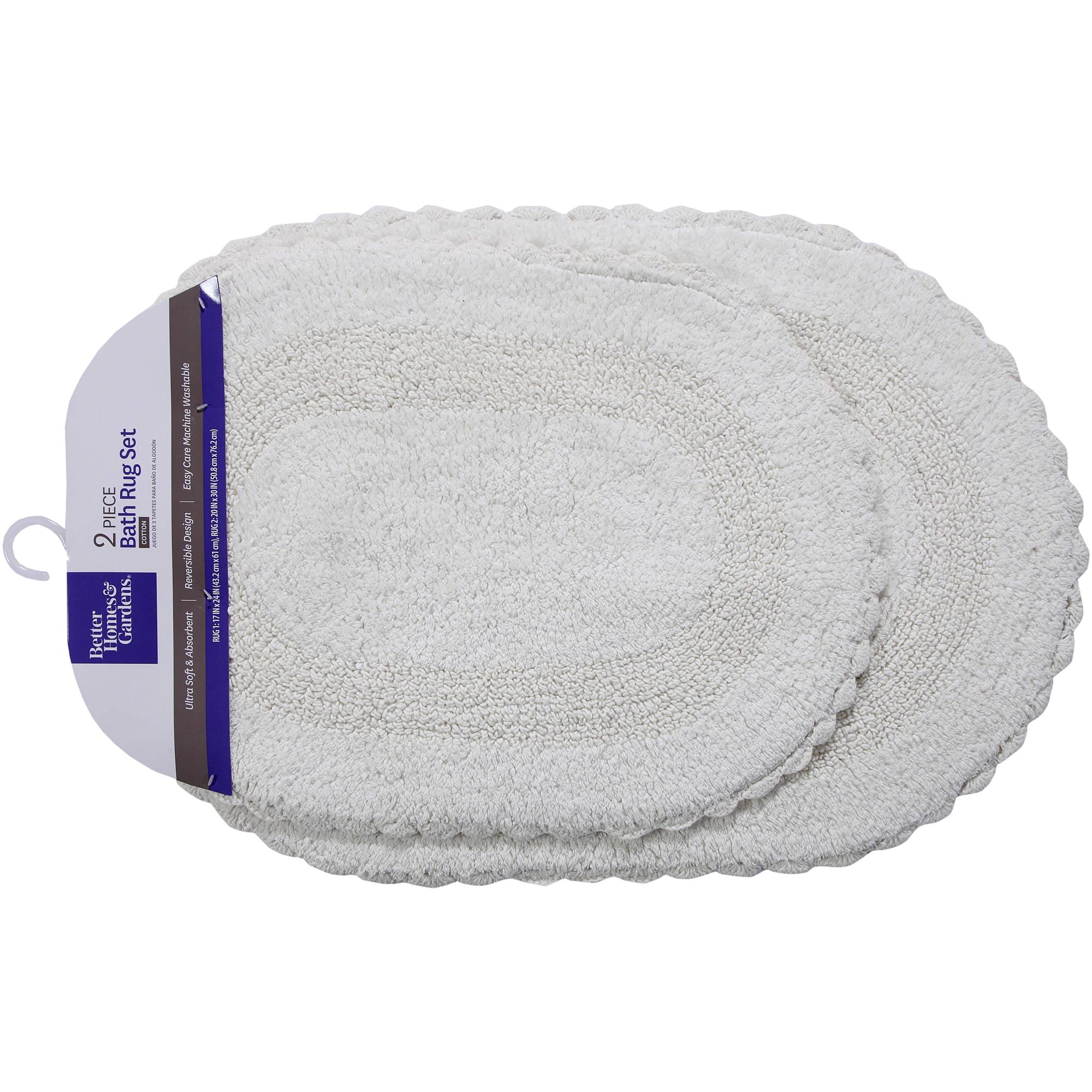 better homes and gardens 2 piece crochet edge cotton bath rug set walmart com