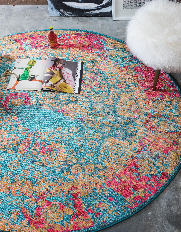 blue 6 x 6 palazzo round rug area rugs esalerugs