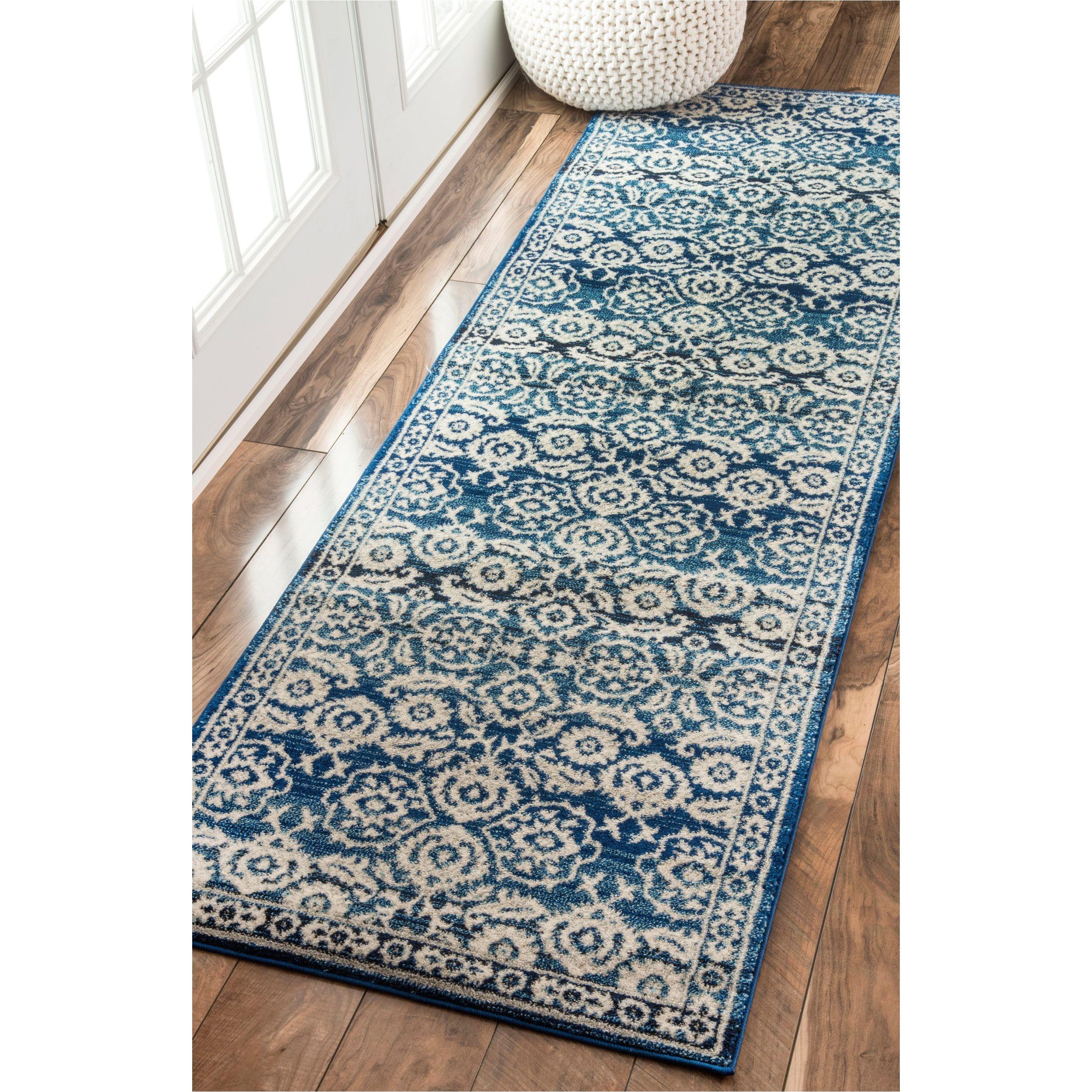 nuloom traditional persian vintage dark blue runner rug 2 8 x 8