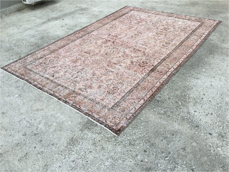 soft pink 6 3 x 9 4 feet vintage rug overdyed