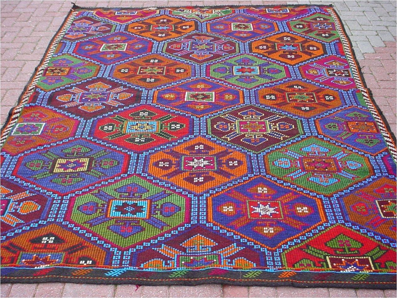 vintage turkish kilim rug carpet cicim embroidered handwoven natural goat hair on wool