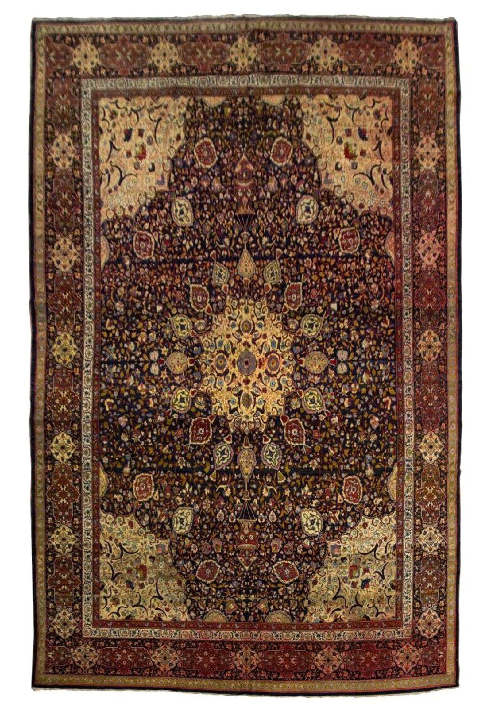 hand tied persian tabirz wool rug 17 9 x 12