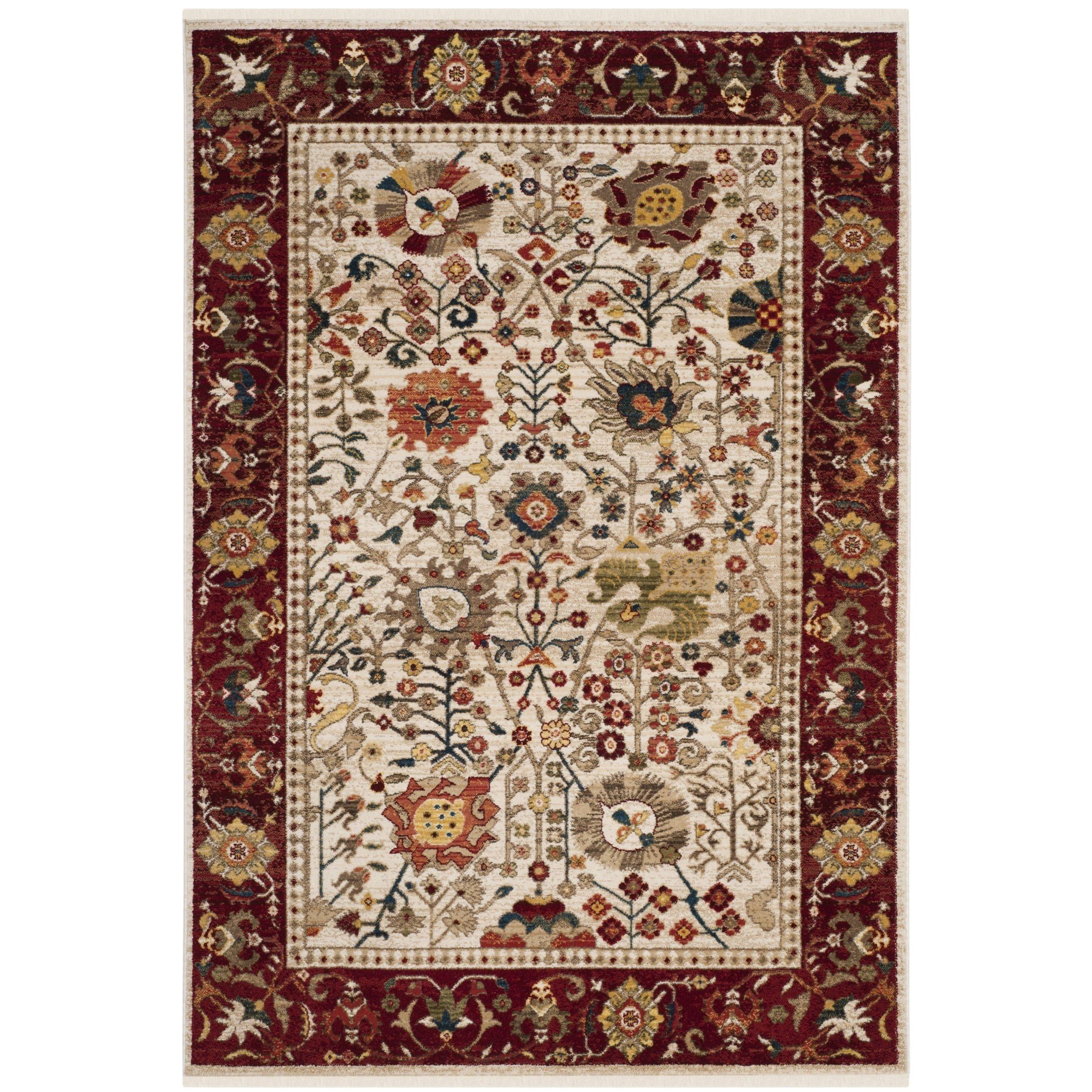 safavieh kashan ivory red rug 9 x 12 ksn303d 9 size 9 x 12 polypropylene oriental