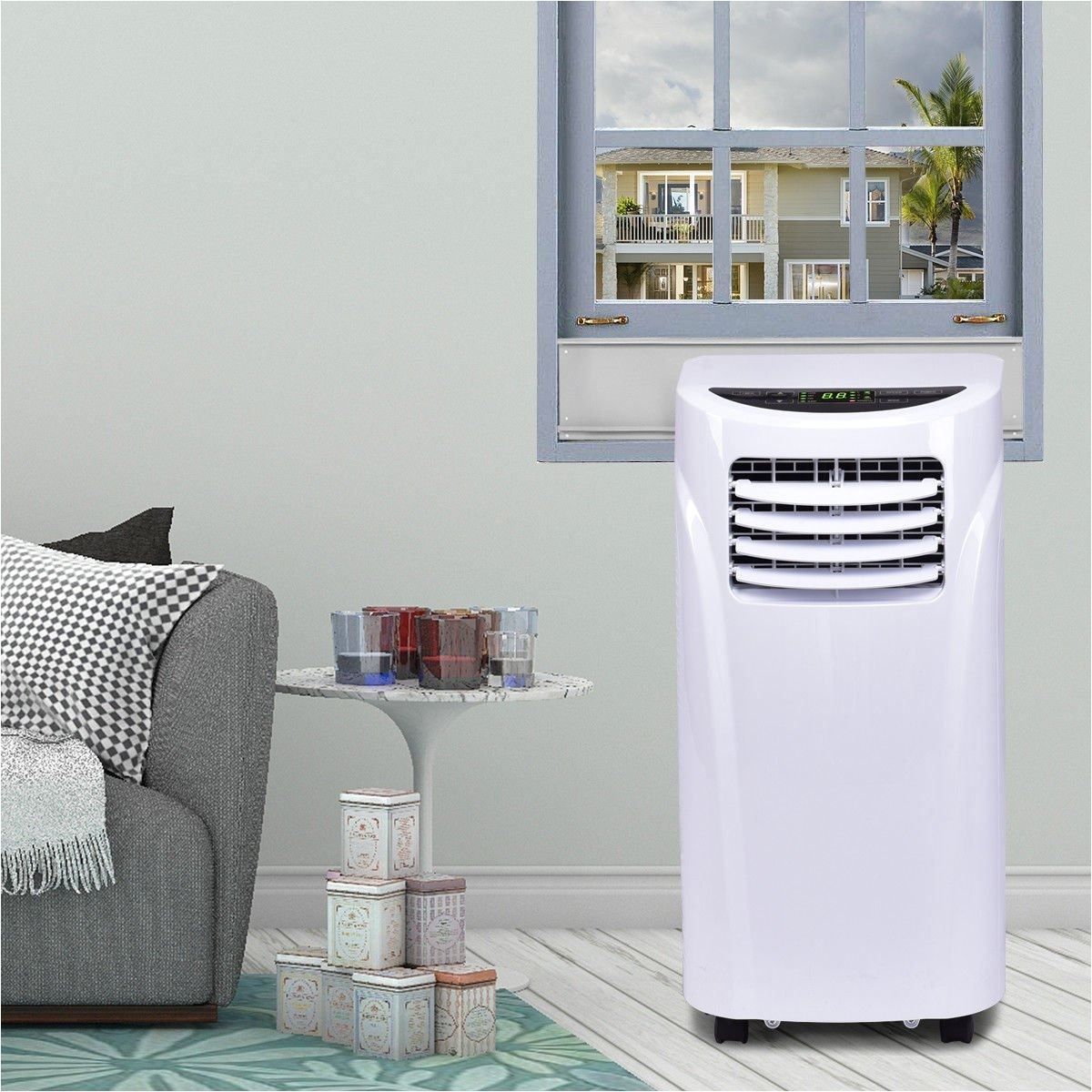 costway 10000 btu portable air conditioner dehumidifier function remote w window kit 0