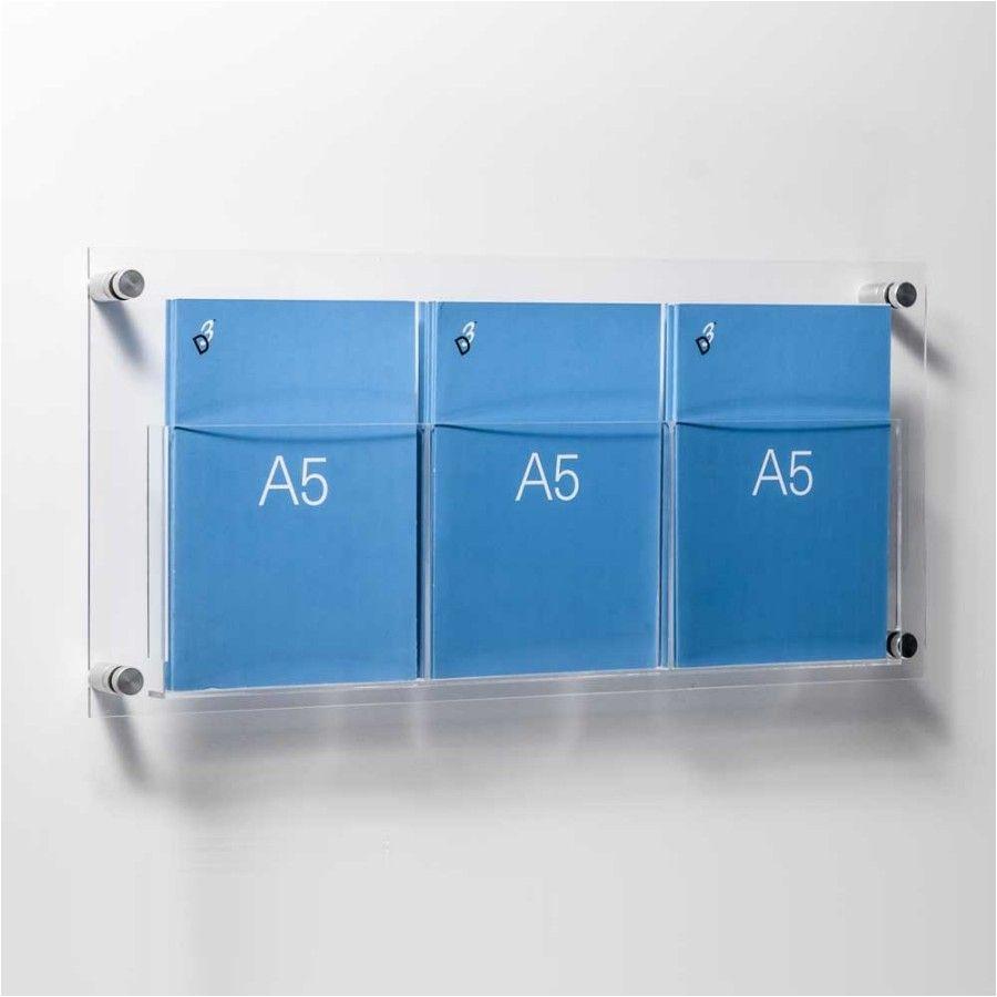 a5 leaflet holders wall mounted triple pocket