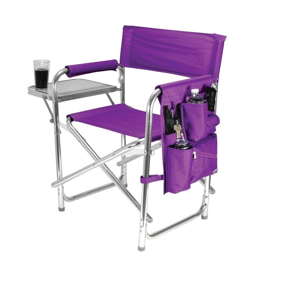 picnic time purple sports portable folding patio chair