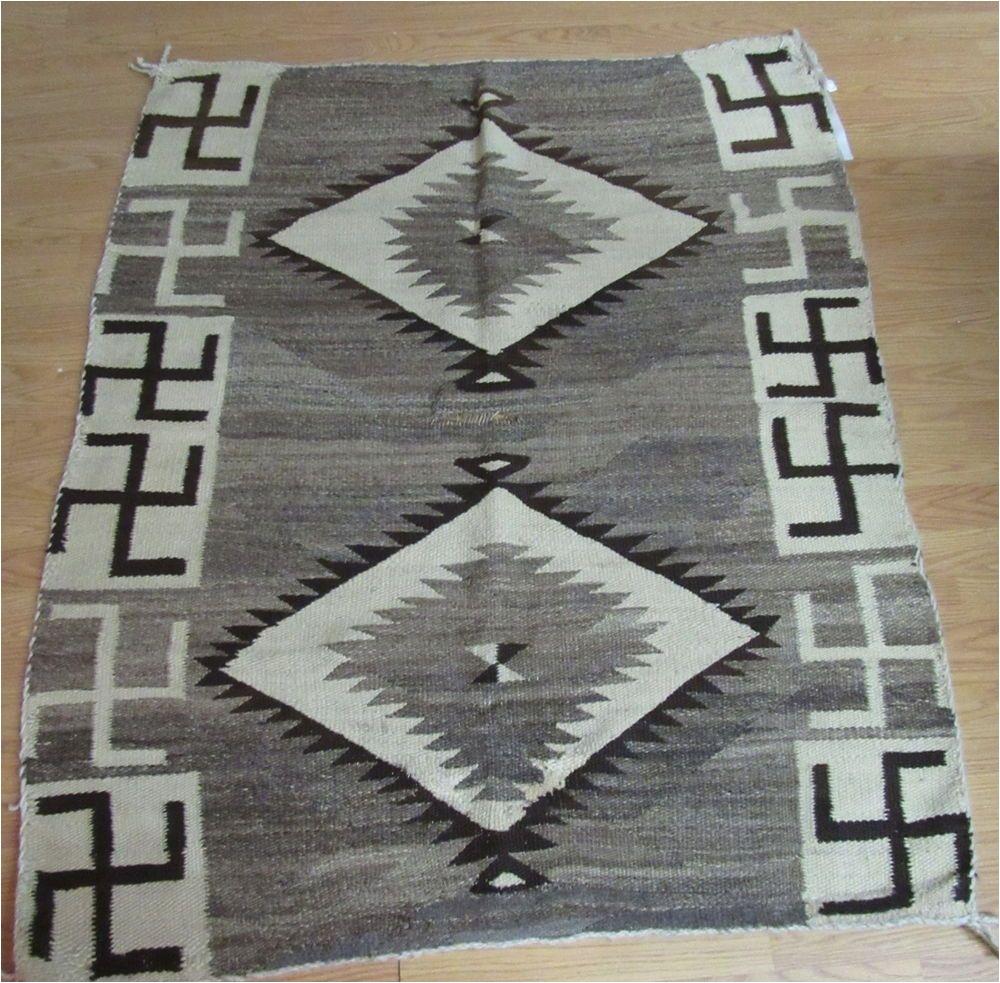 antique native american navajo navaho rug w whirling logs 53 x 44 rare