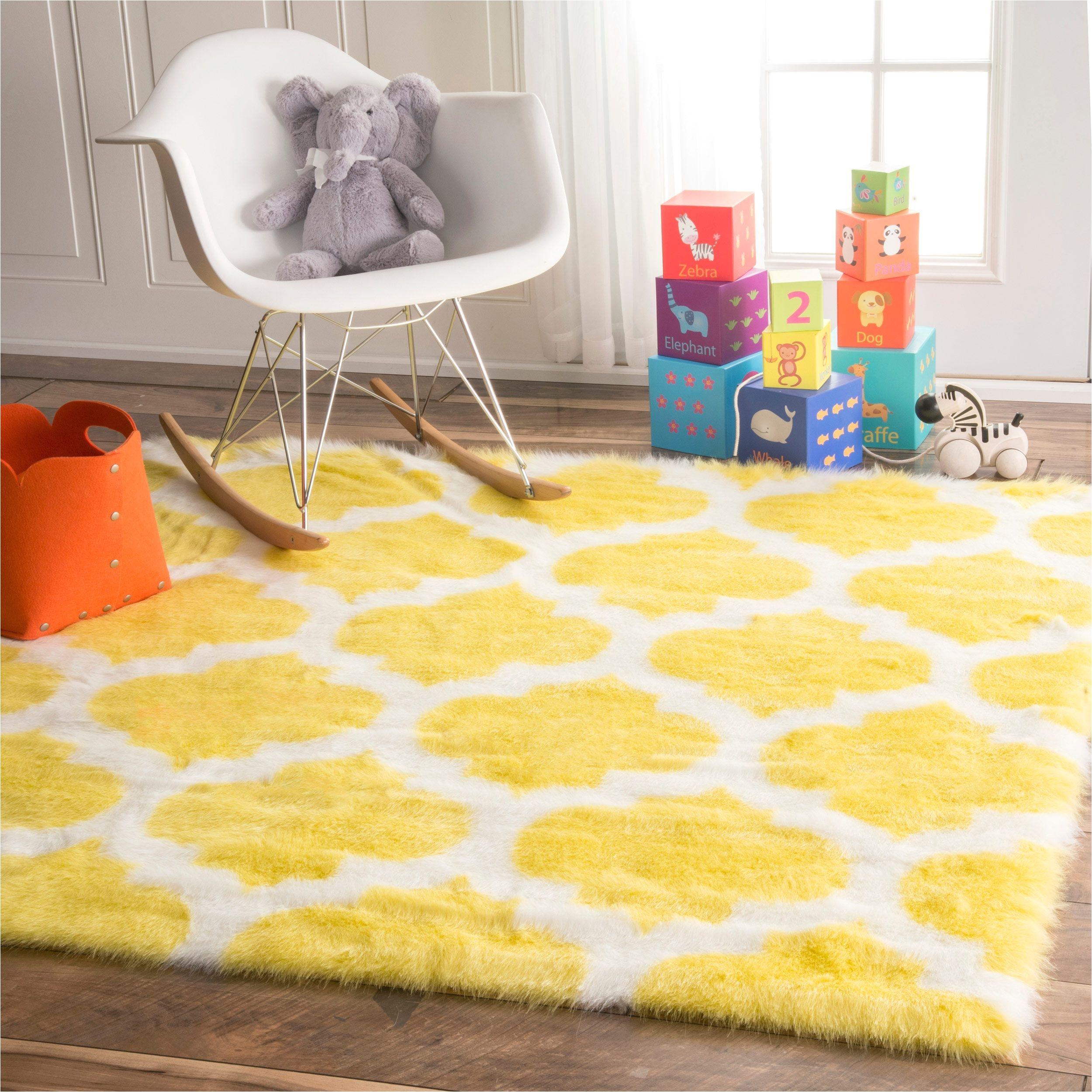 nuloom cozy soft and plush faux sheepskin tellis shag kids nursery yellow rug