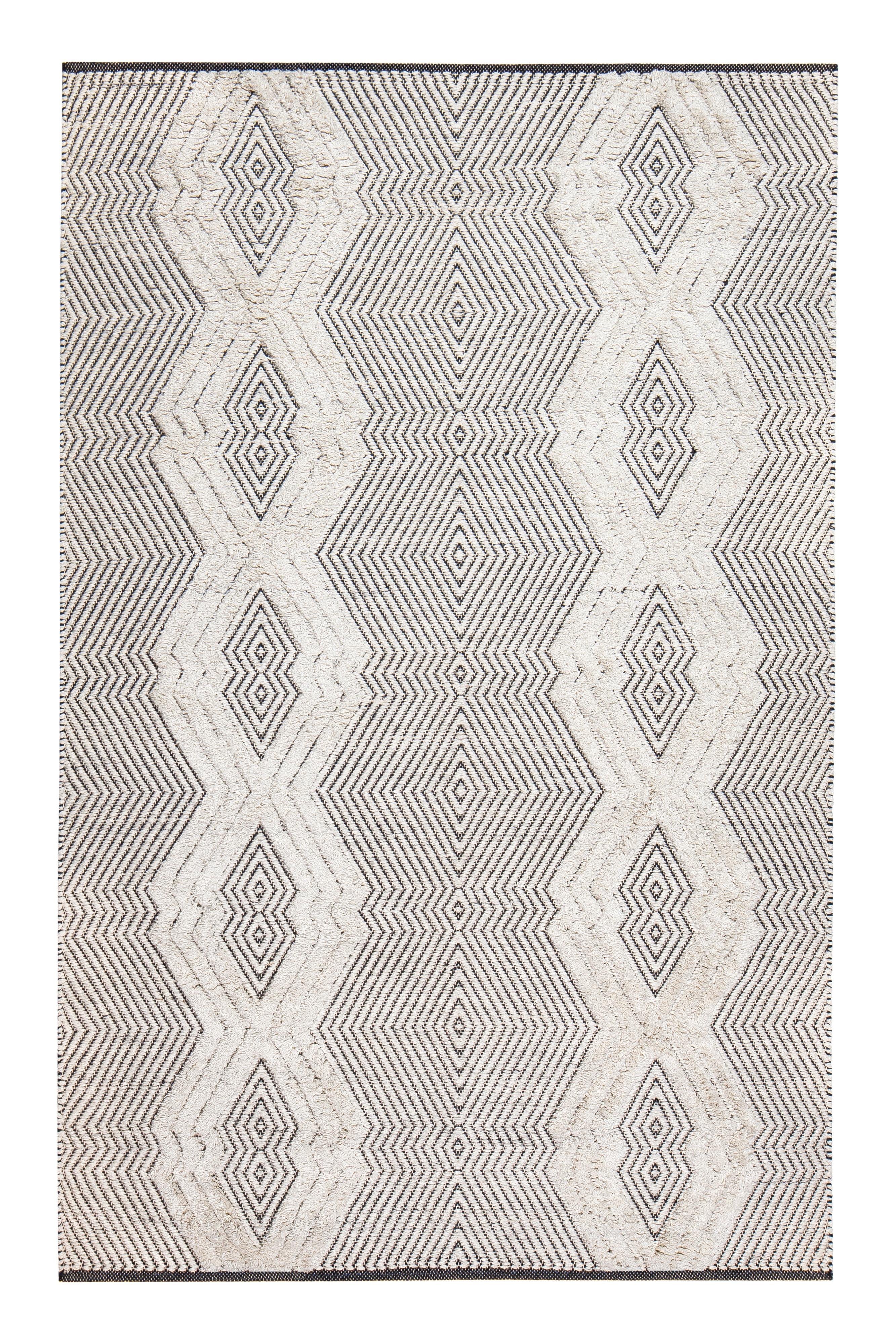 gracie oaks tufted tribal hand woven black white area rug reviews wayfair