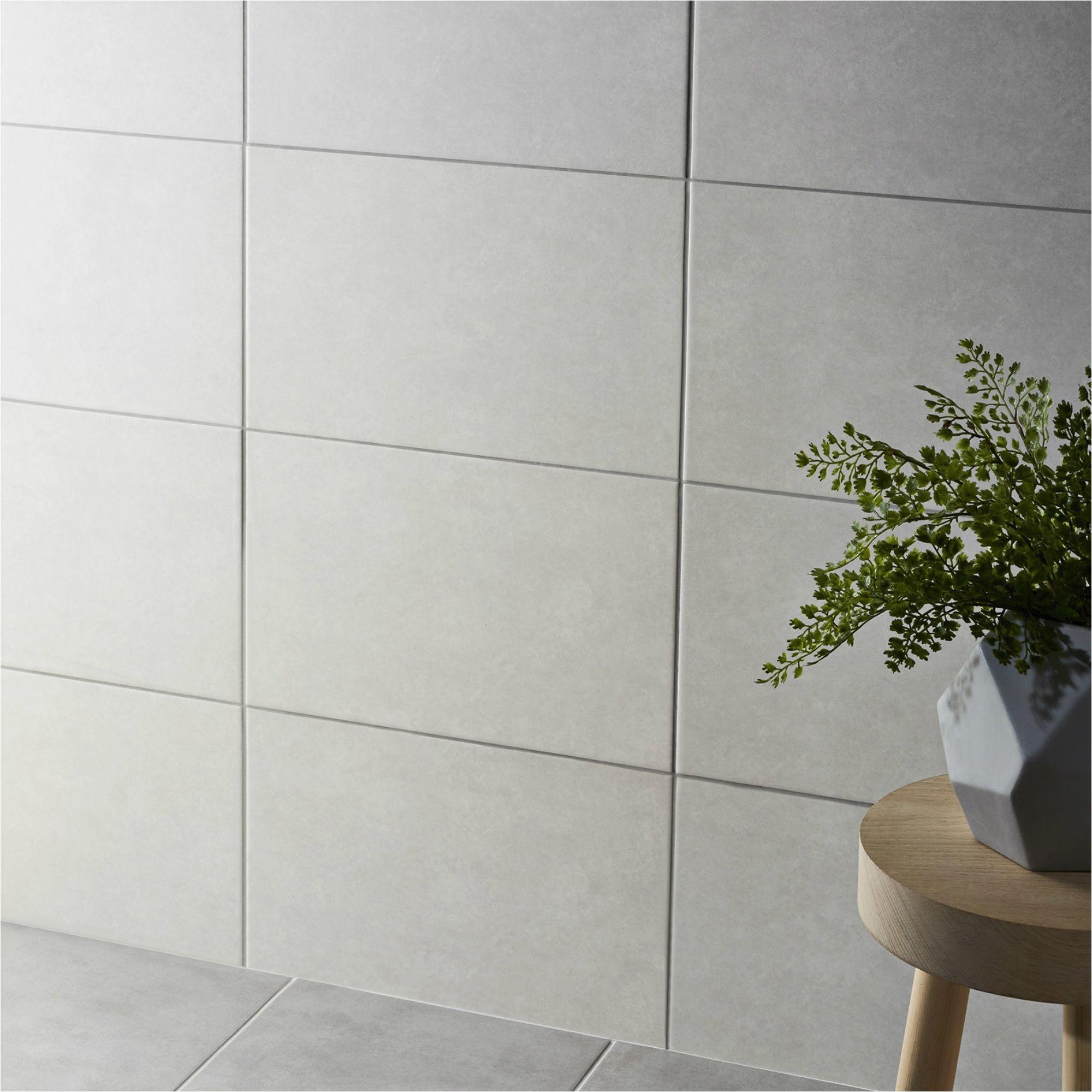 cimenti grey matt ceramic wall tile pack of 10 l 400mm