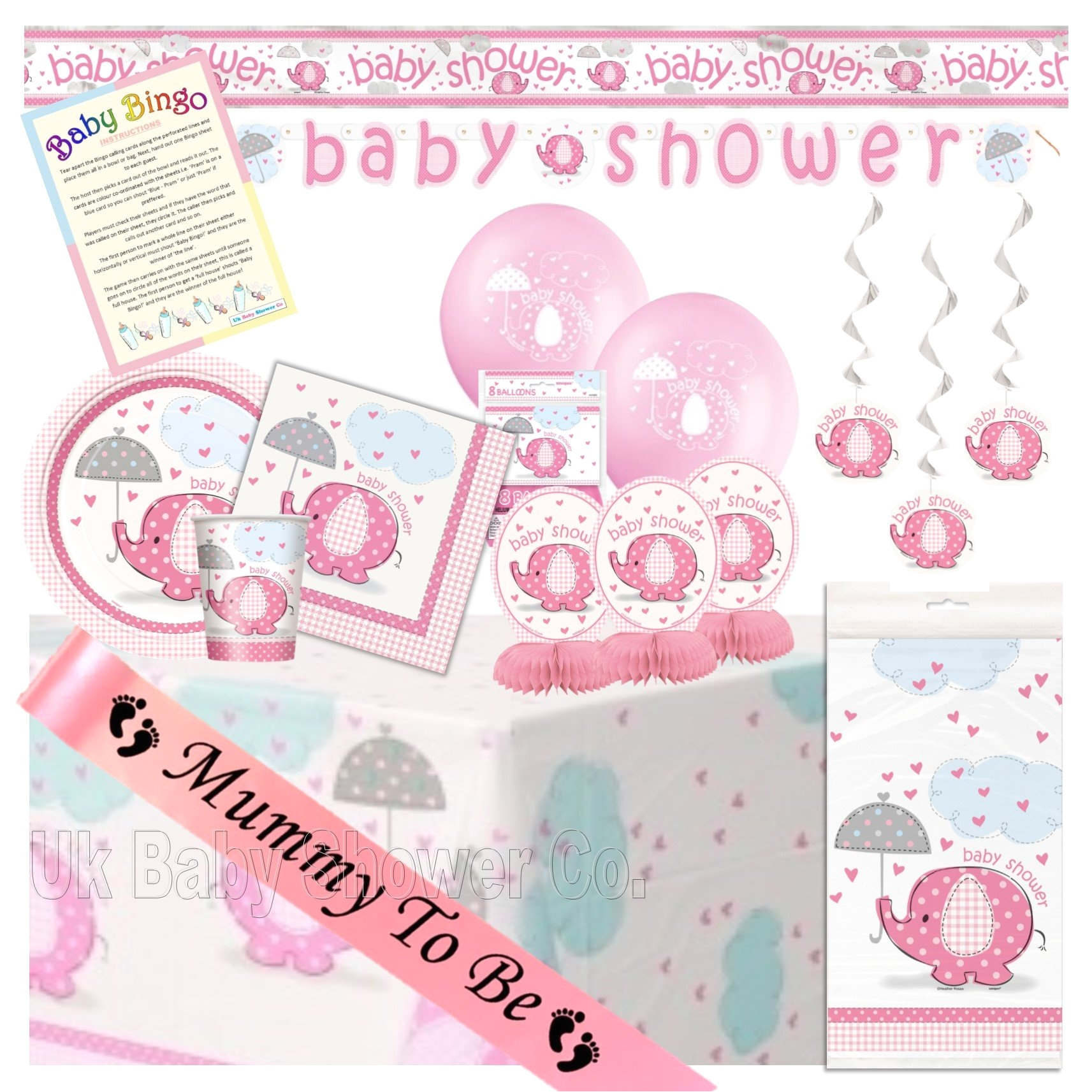 ultimate party pack in pink umbrellaphant uk baby shower co ltd