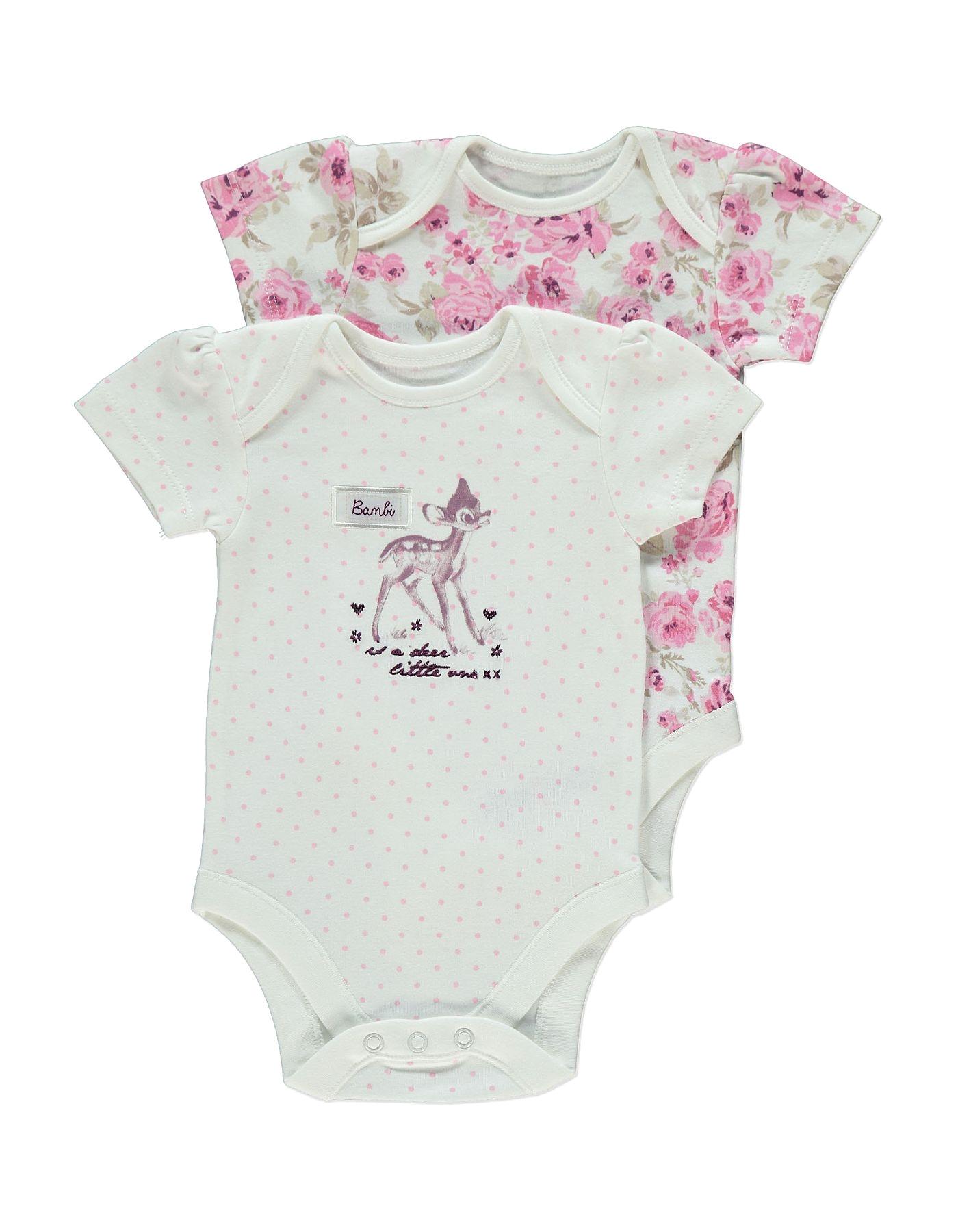2 pack bambi bodysuits baby george at asda