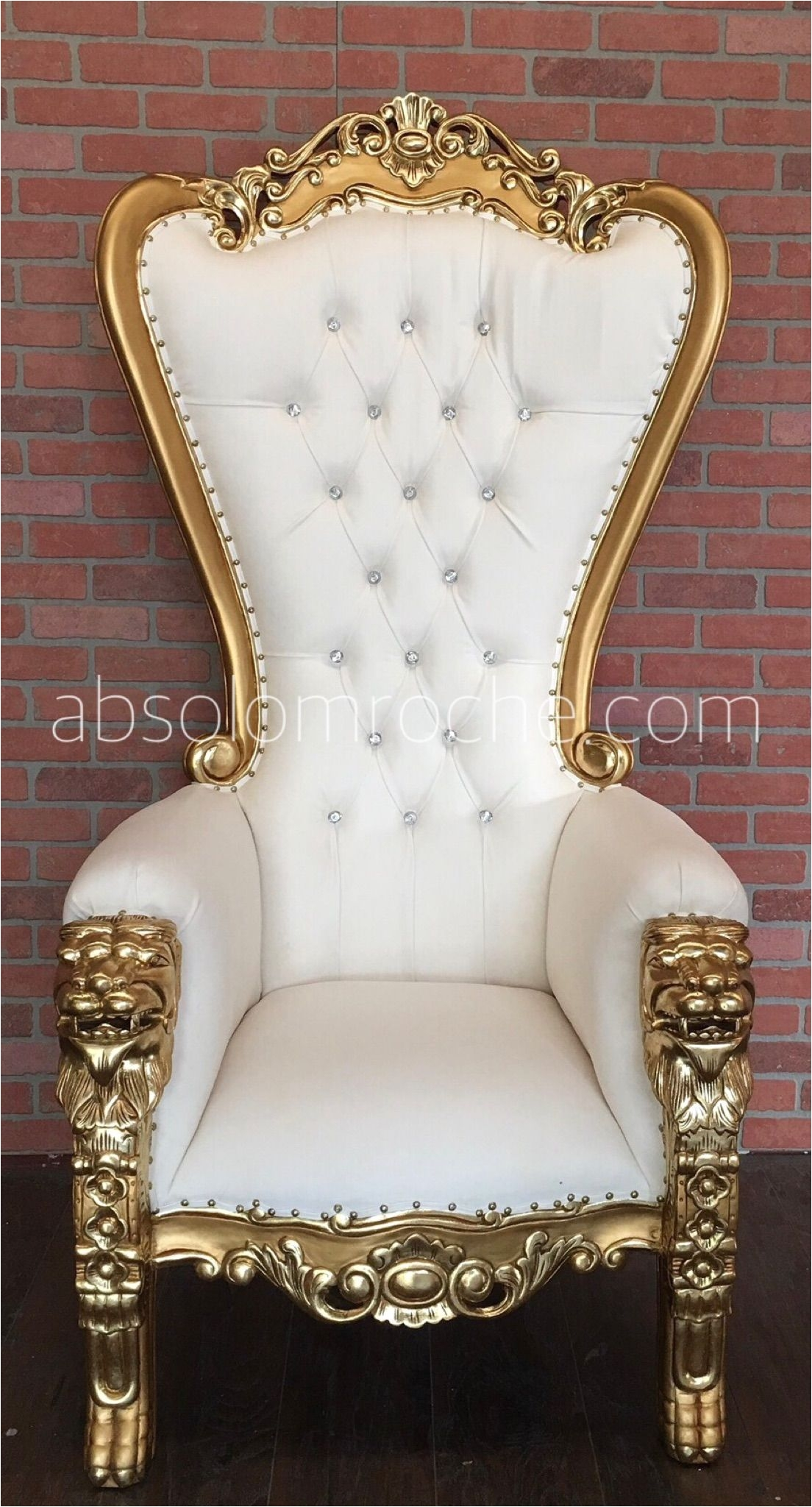 absolom roche lion throne chair gold white
