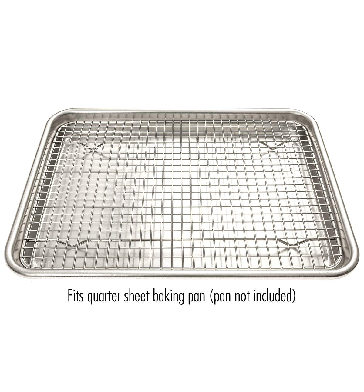 amazon com stainless steel cooling rack fits quarter sheet baking pan oven safe rust resistant heavy duty 8 5 x 12 kitchen dining
