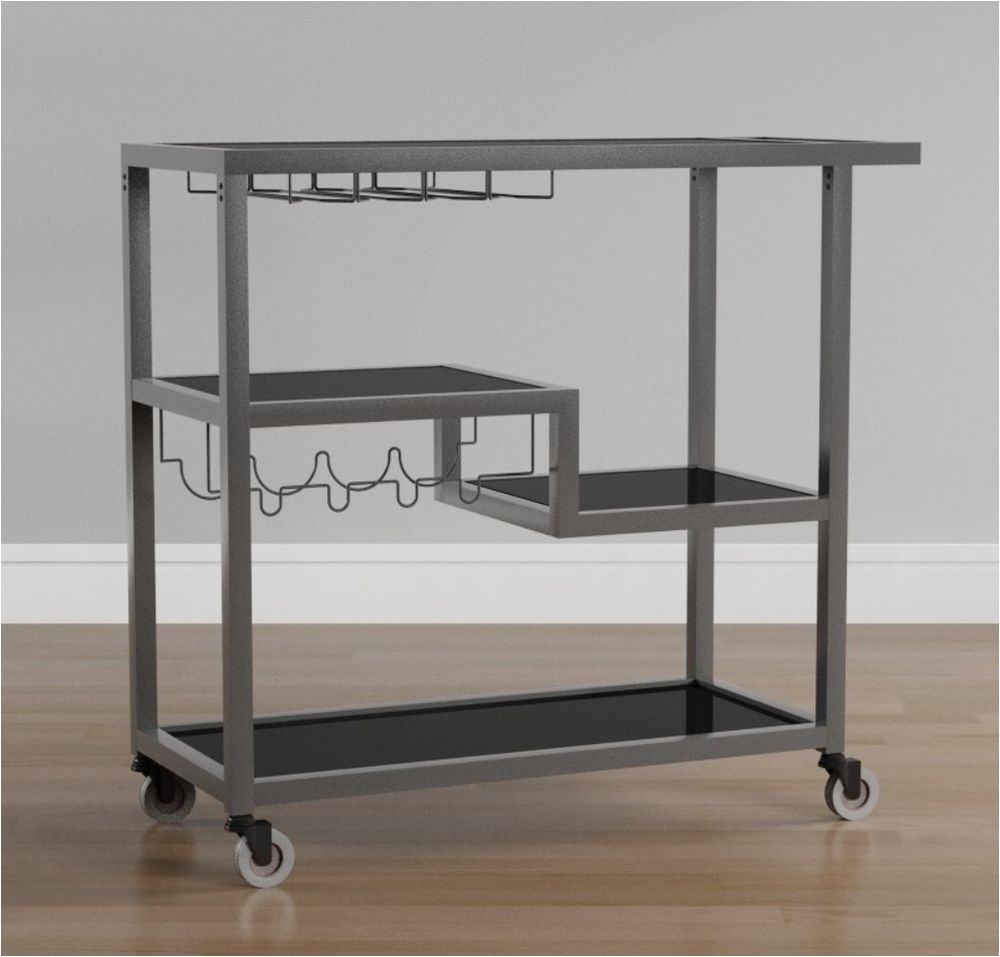 modern glass brighton gunmetal grey bar wine rack serving cart kitchen furniture kitchen furniture