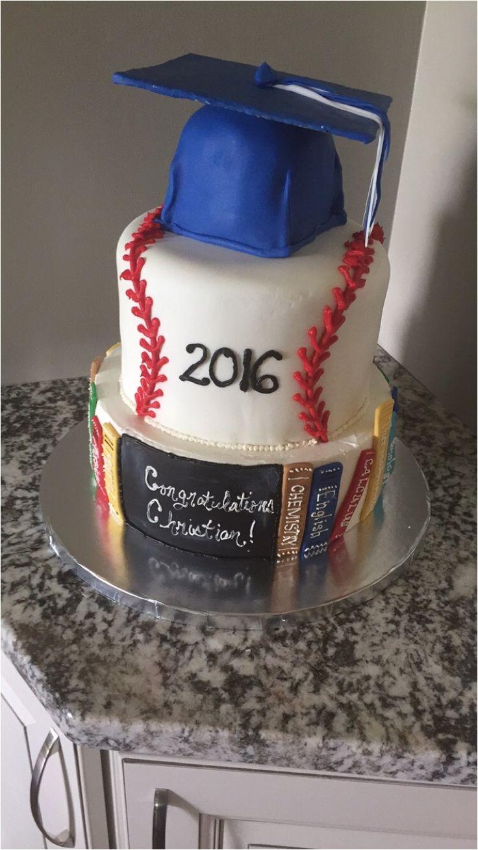 baseball books grad cake