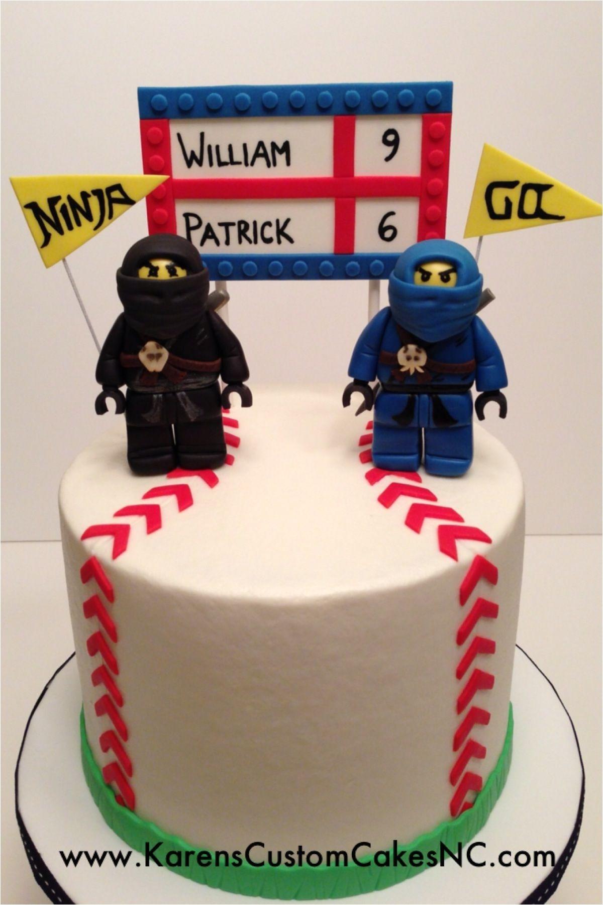 lego ninjago and baseball cake made for brothers celebrating birthdays together