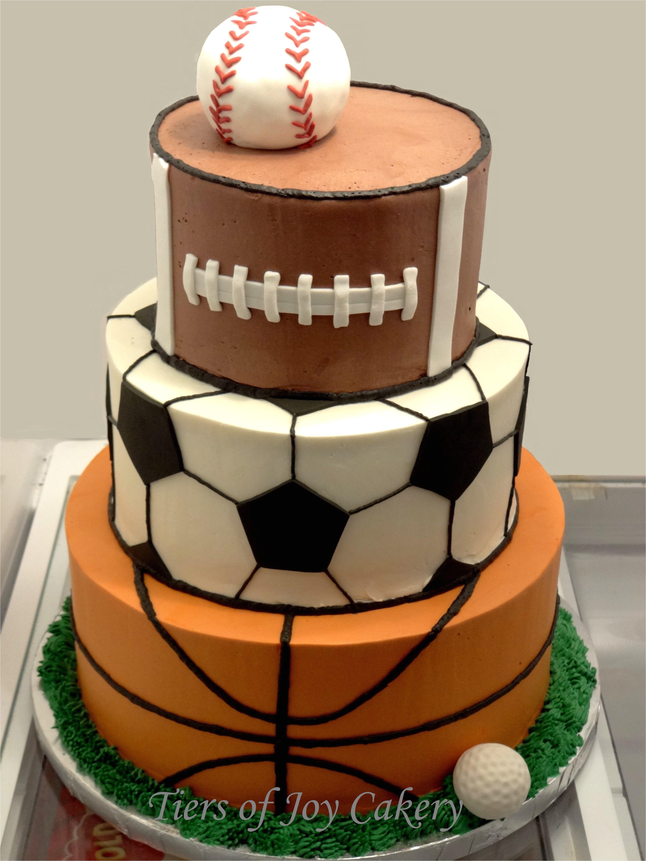 sports balls cake with baseball football soccer ball basketball and golf ball