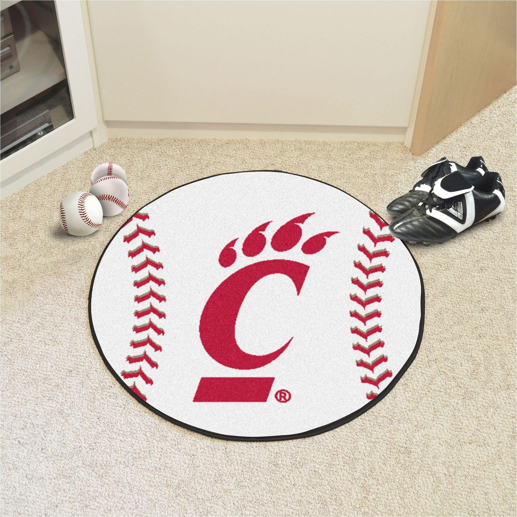 university of cincinnati baseball mat 27 diameter baseball shaped area rugs by fanmats