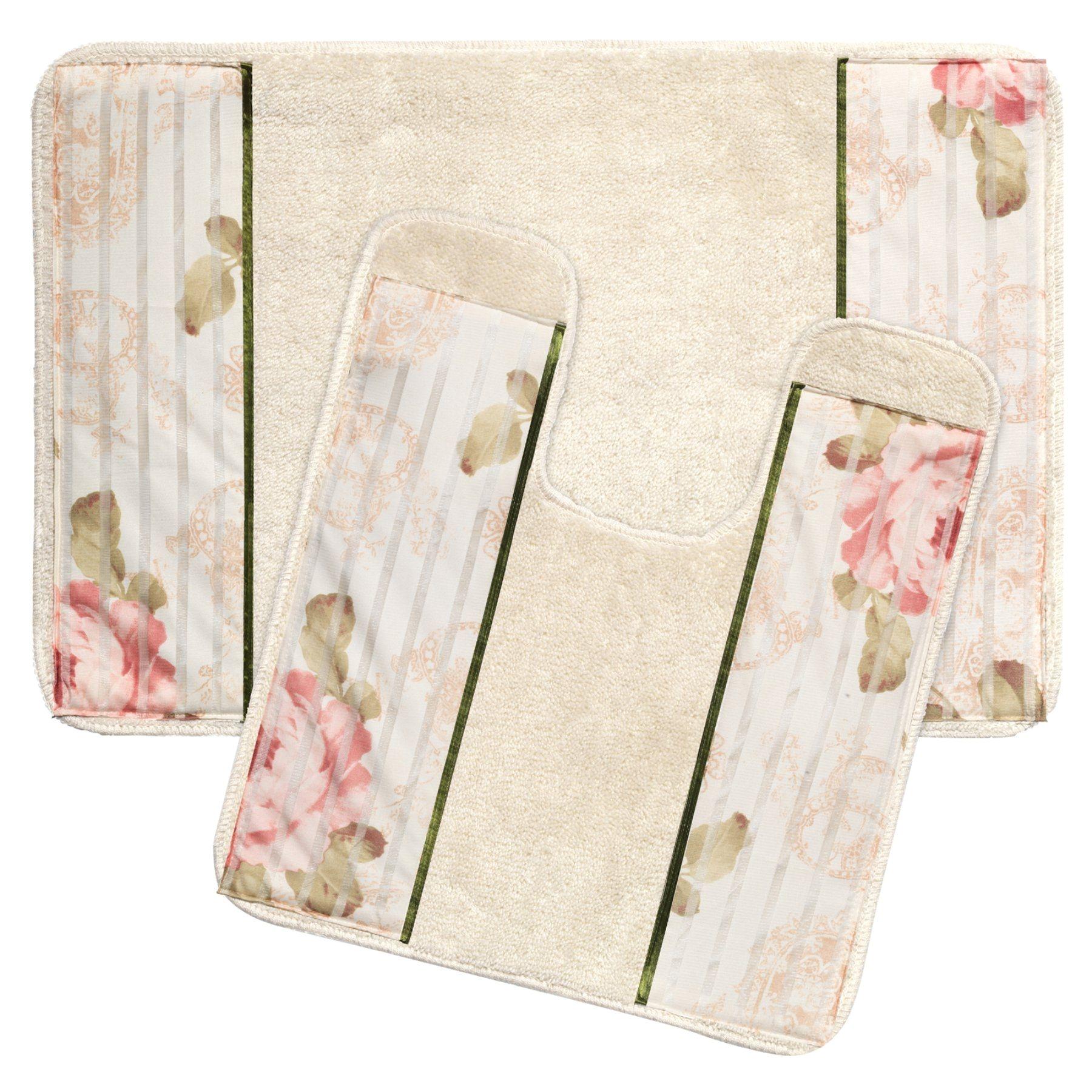 sweet home collection madeline beige bathroom rug set madln rug set
