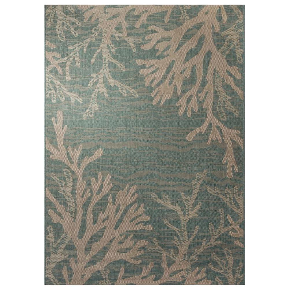 hampton bay reef aqua 5 ft 3 in x 7 ft 4 in indoor outdoor area rug