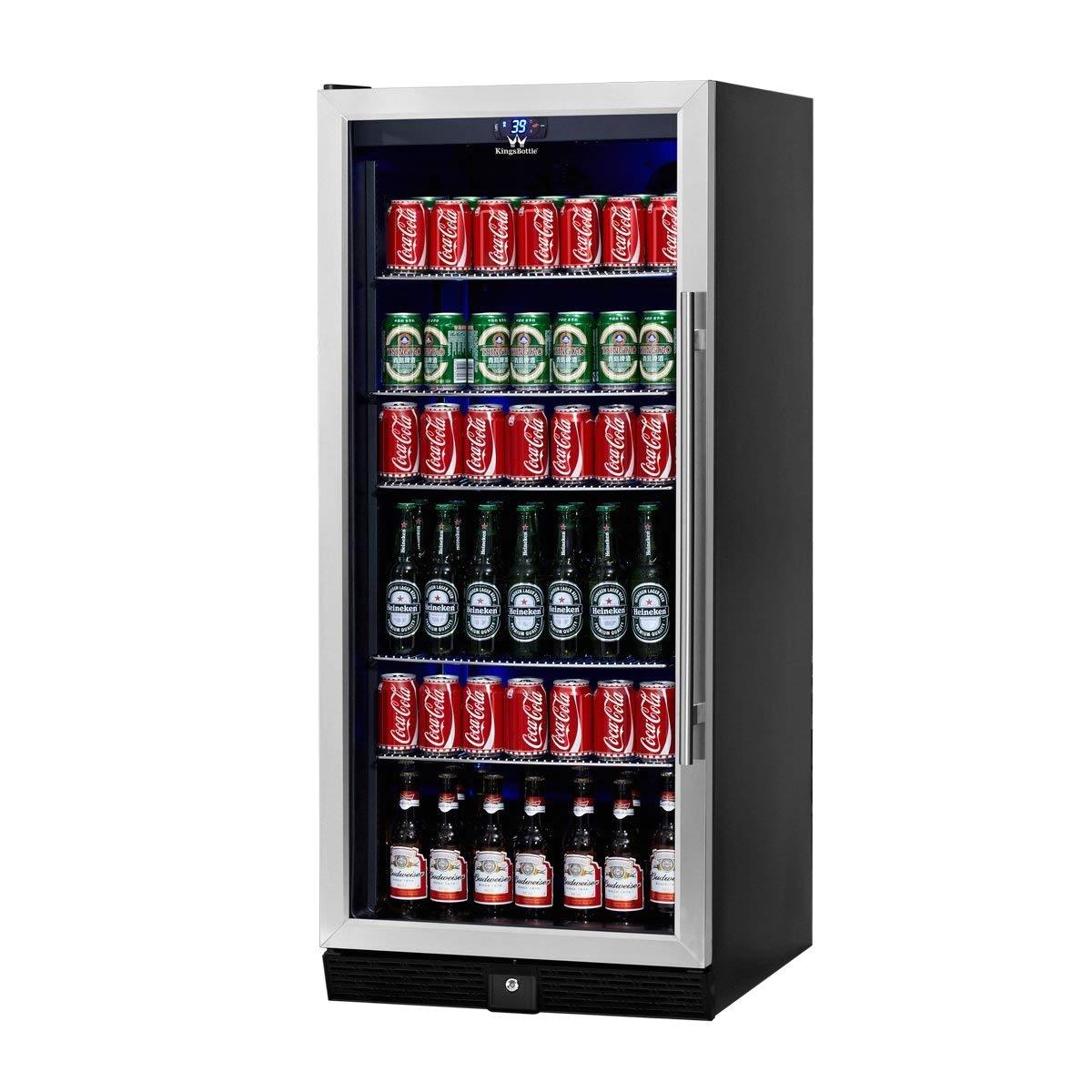 amazon com beverage cooler beer cooler upright stainless steel beer fridge 300 cans 5 chromed steel shelves ideal beer and beverage refrigerator for