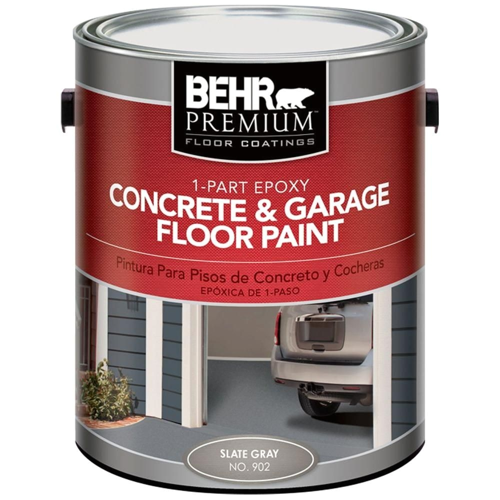 behr premium 1 gal 902 slate gray 1 part epoxy concrete and garage floor paint