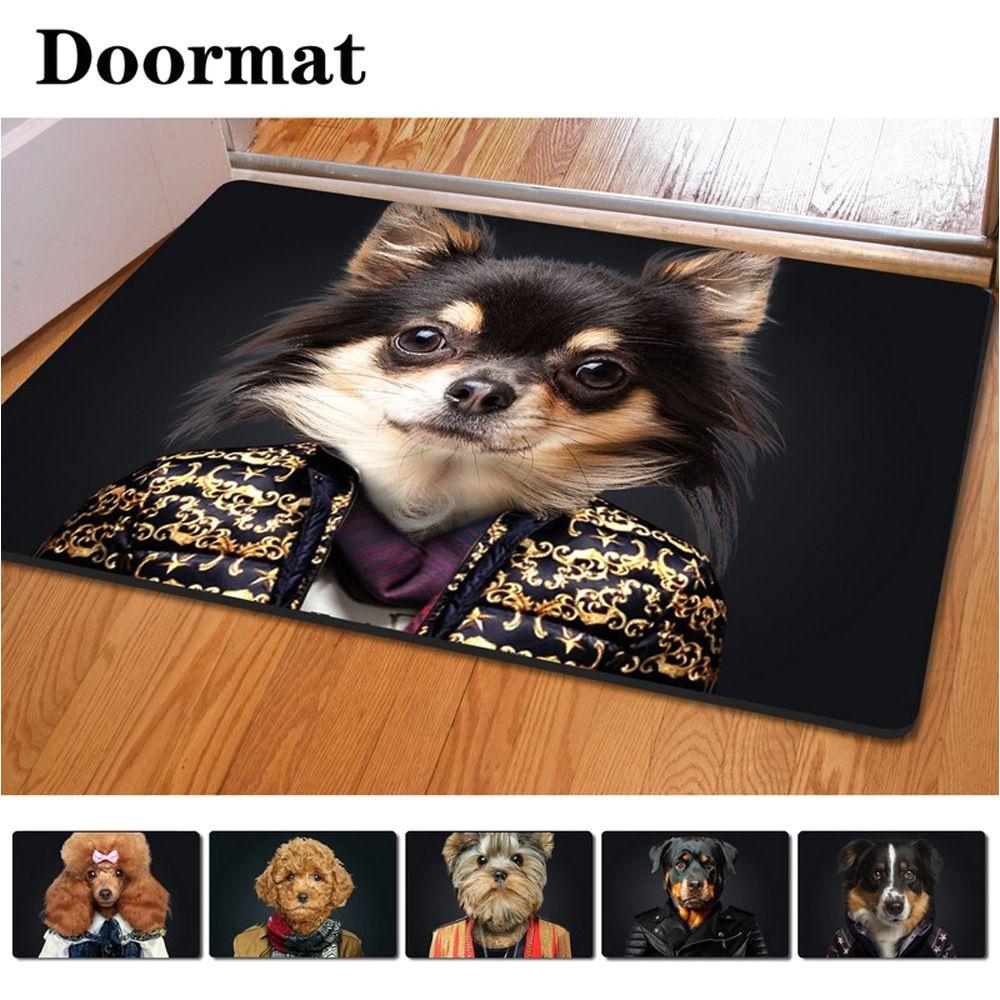 40 60cm non slip 3d printed doormat wearing clothes dog printing rubber door mat for living room bedroom floor mats kitchen rug