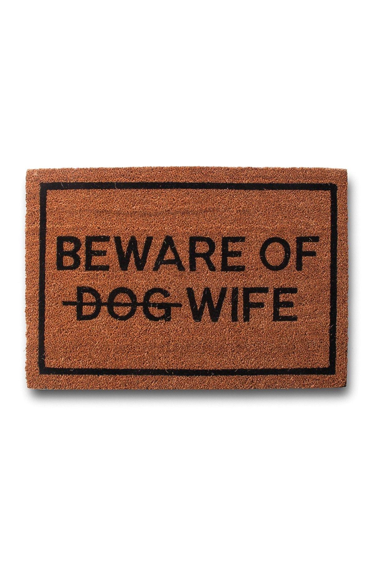 clever doormats beware of dog strikethrough wife brown coir doormat