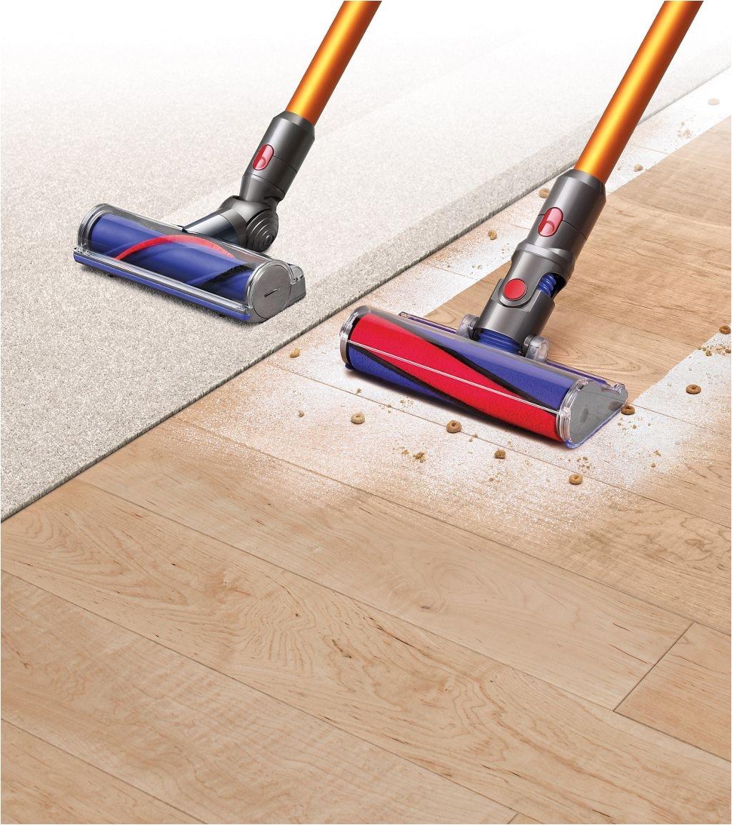 dyson v8a vacuums on carpet and hard flooring