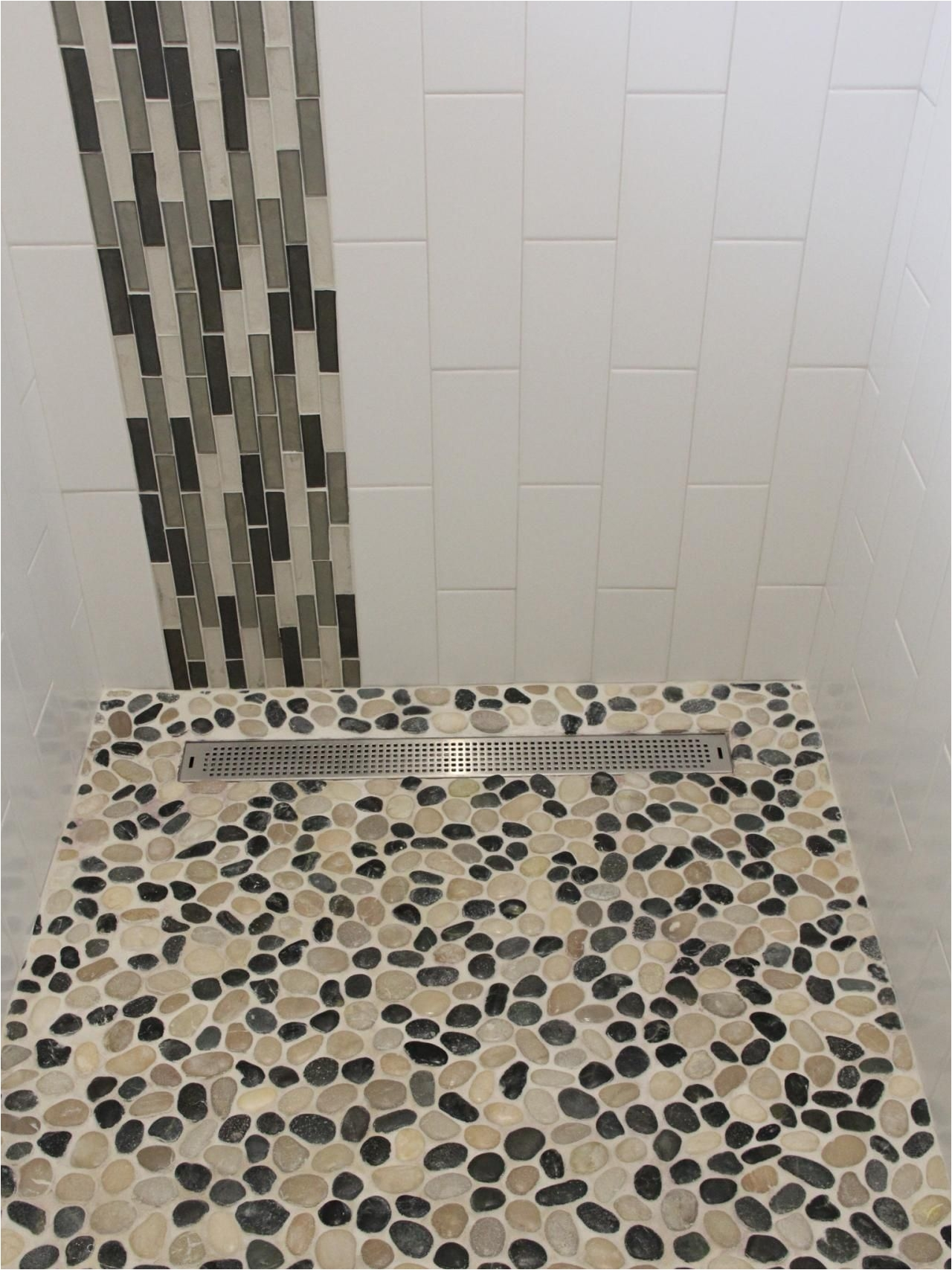 Best Grout for River Rock Shower Floor Black and White Pebble Tile Pinterest White Pebbles Pebble
