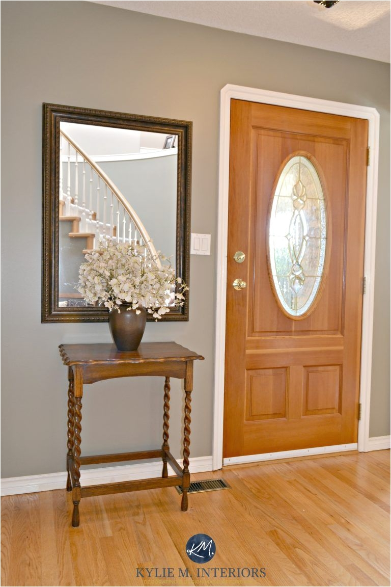 benjamin moore sandy hook gray in entryway with orange toned oak floor and fir front door best paint colours for wood kylie m interiors e design and