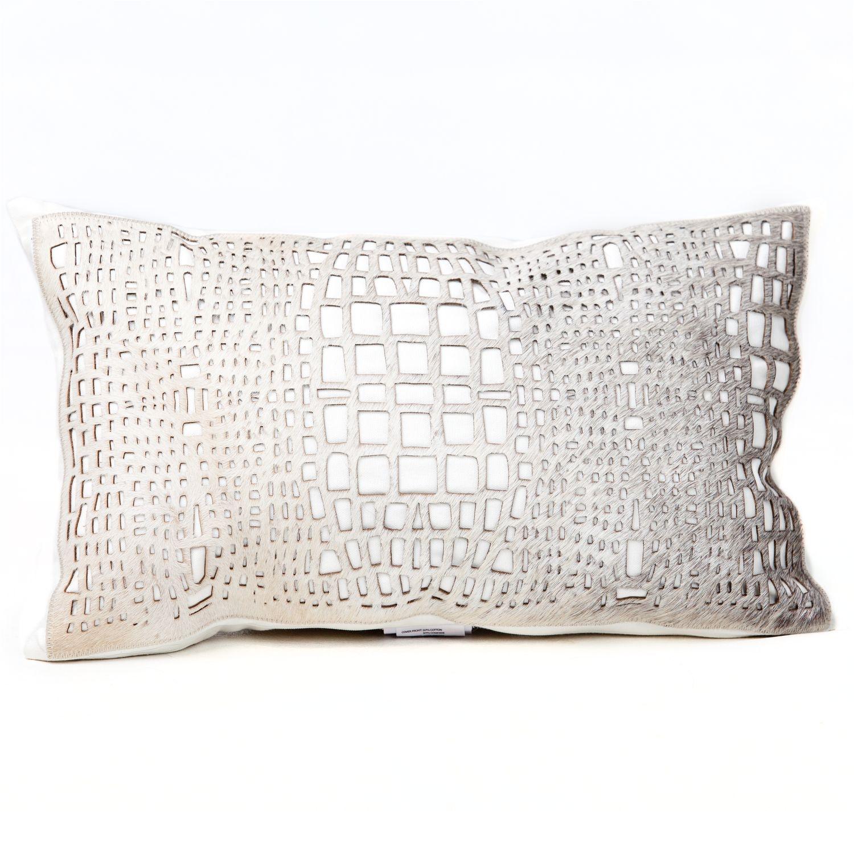 fibre by auskin laser cut filigree grey decorative pillow