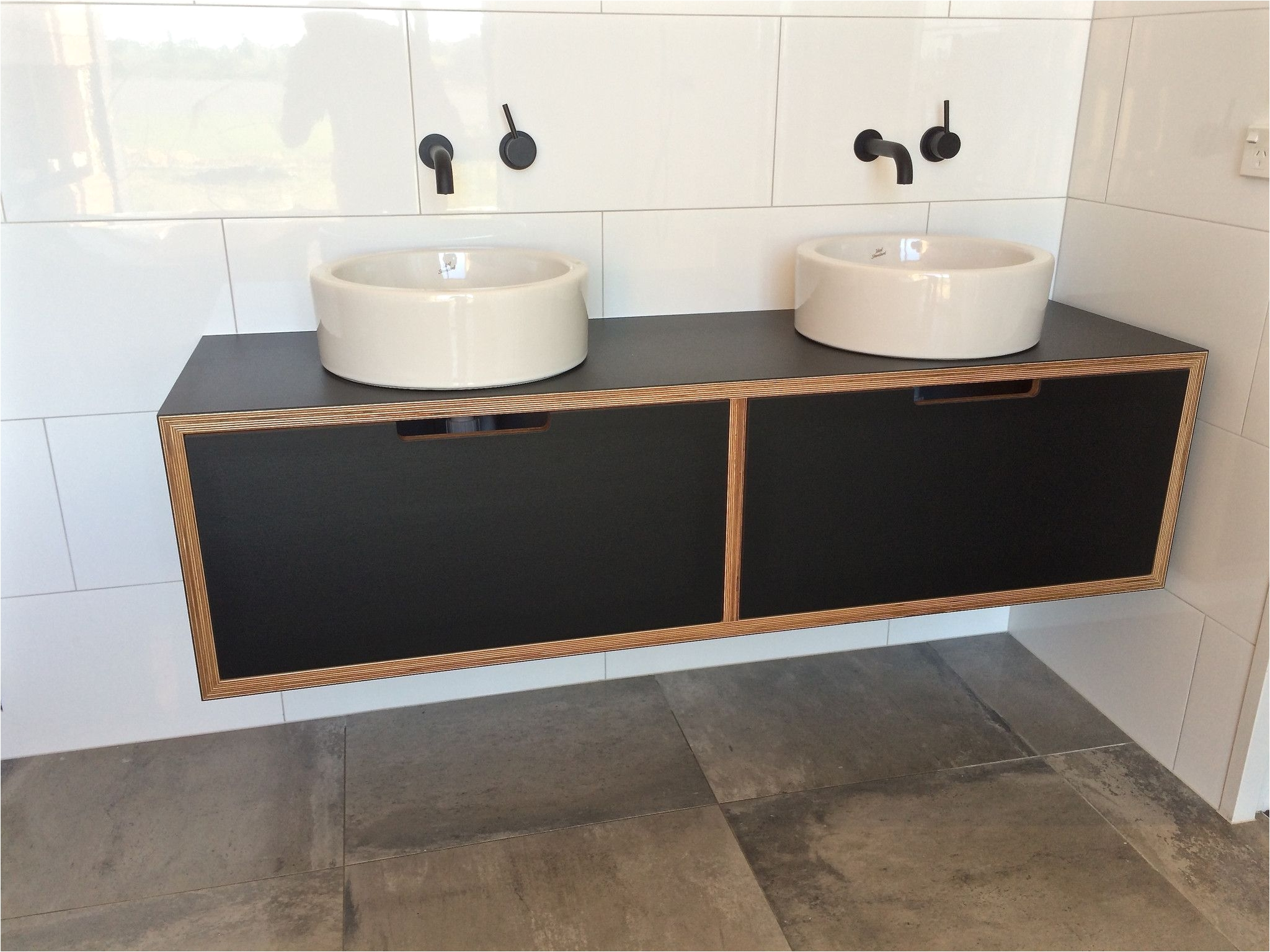 black laminate vanity on birch plywood custom made in nz