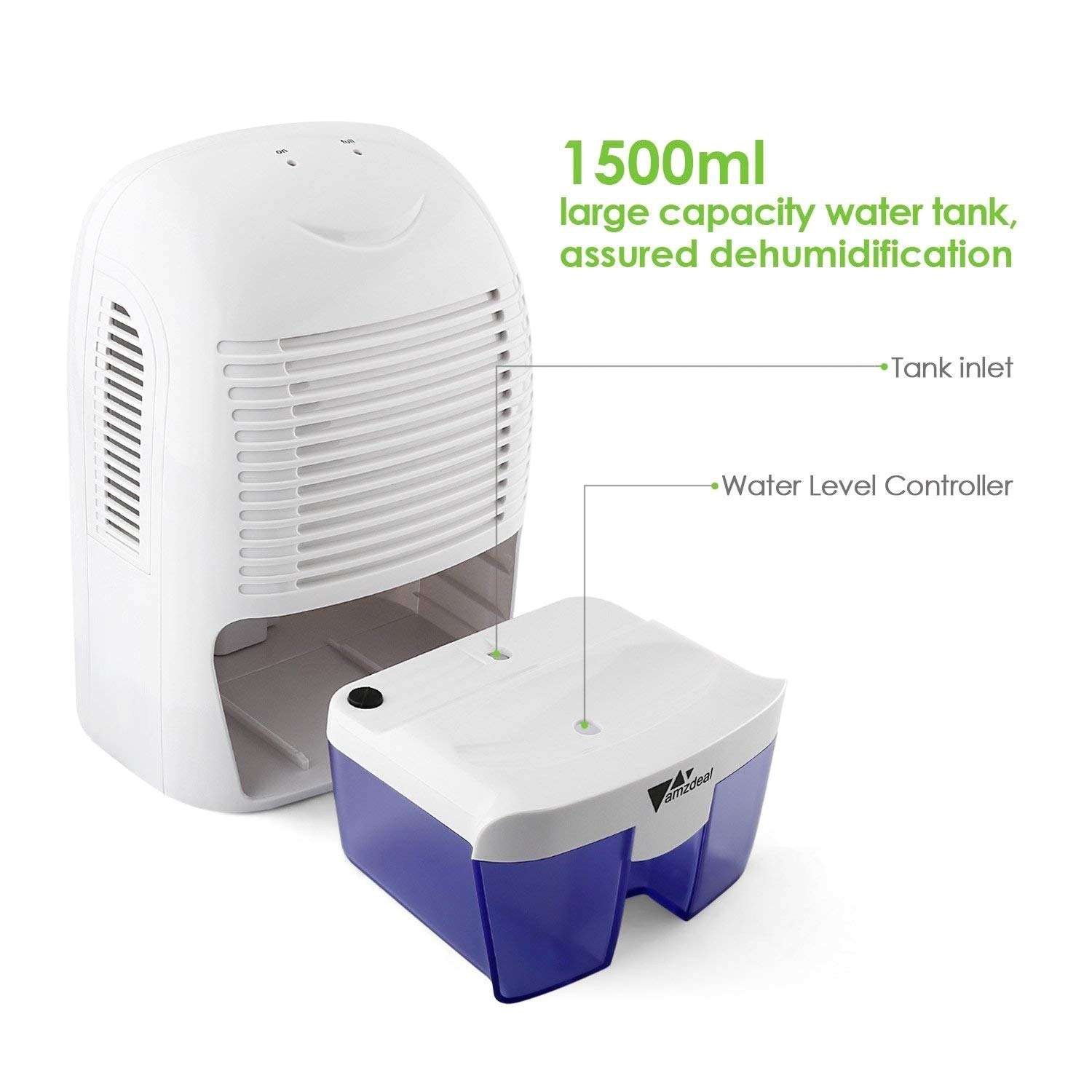 amazon com amzdeal dehumidifier for 323 sq ft home basement bedroom small dehumidifier with 50 oz water tank auto off to remove damp and mold