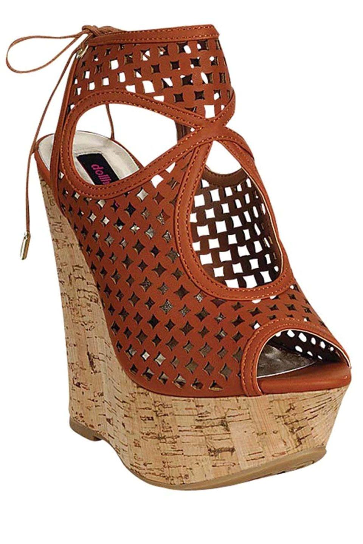 dollhouse grace peep toe wedge sandal in chestnut beyond the rack 100 00