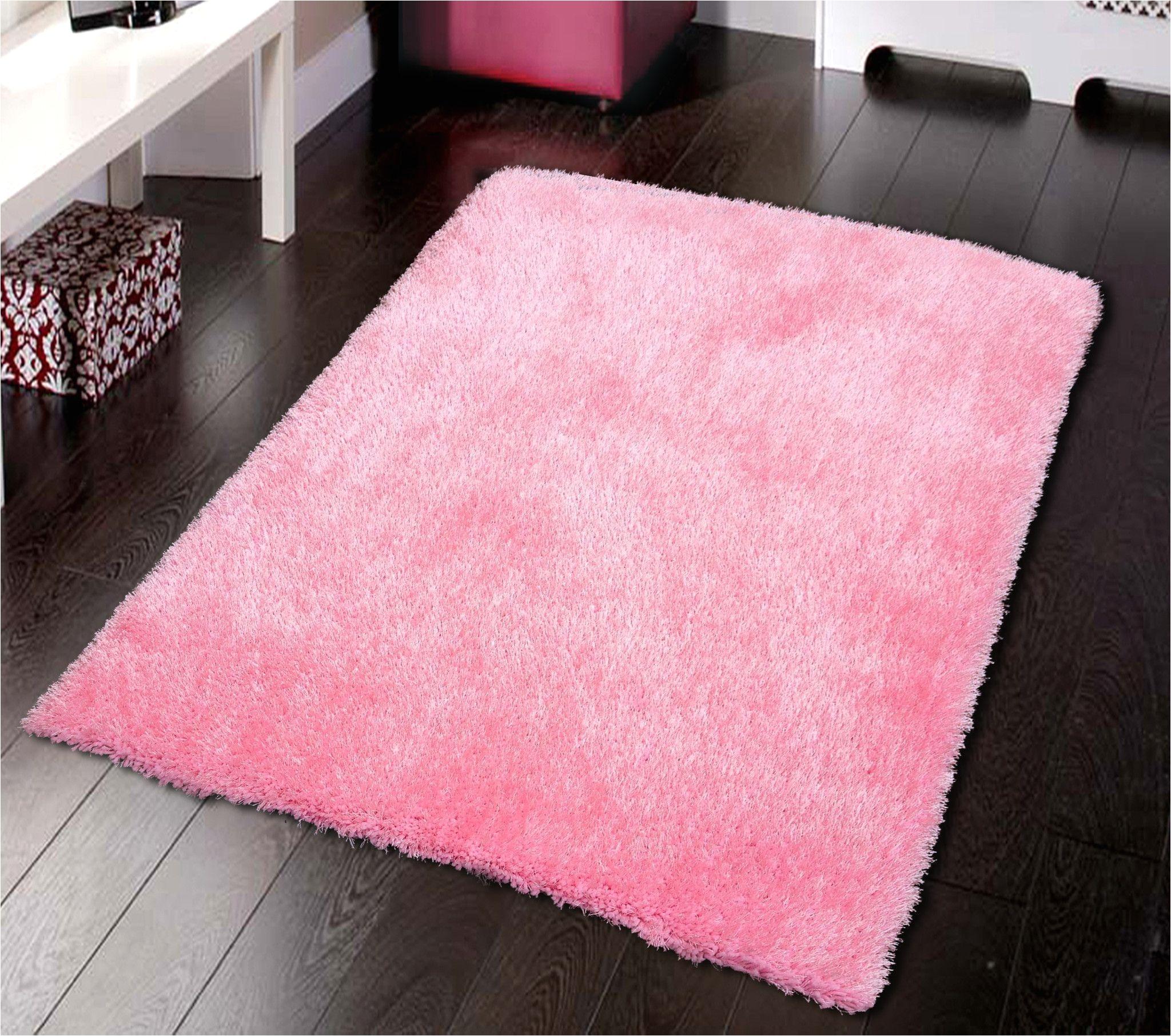 solid pink shag rug
