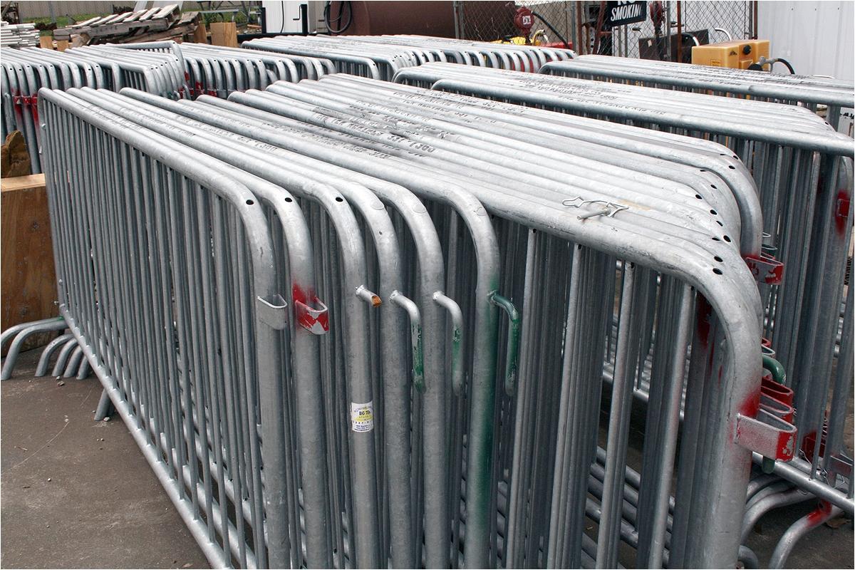 stacks of bike rack barricade